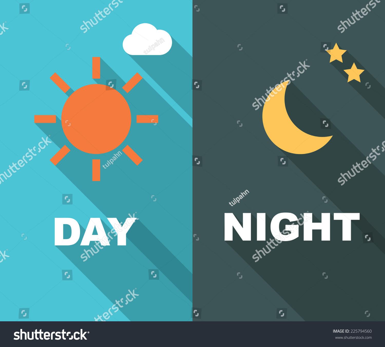 Day Night Long Shadow Flat Vector Stock Vector