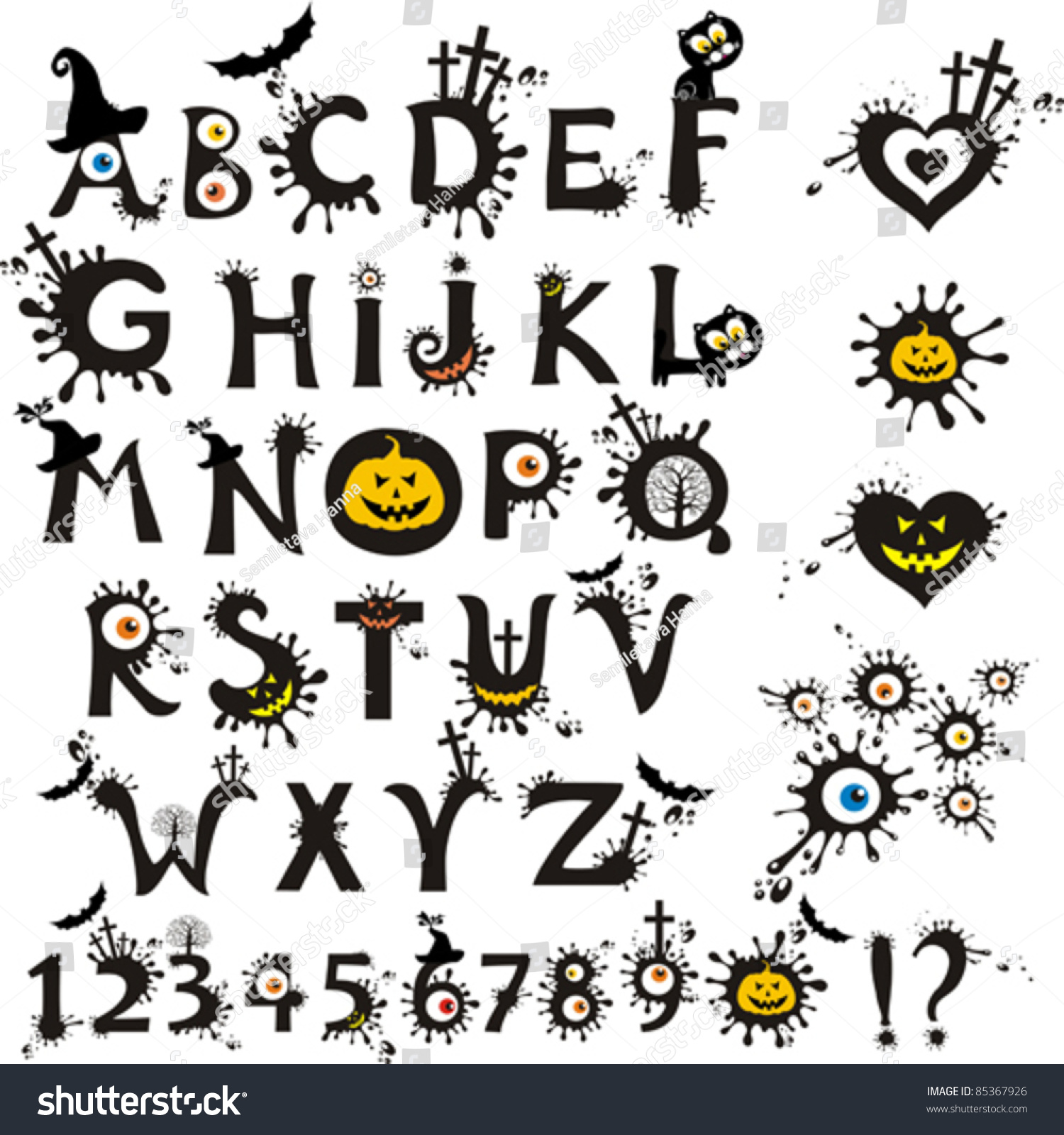 Decorative Scary Style Alphabet Halloween Theme Font
