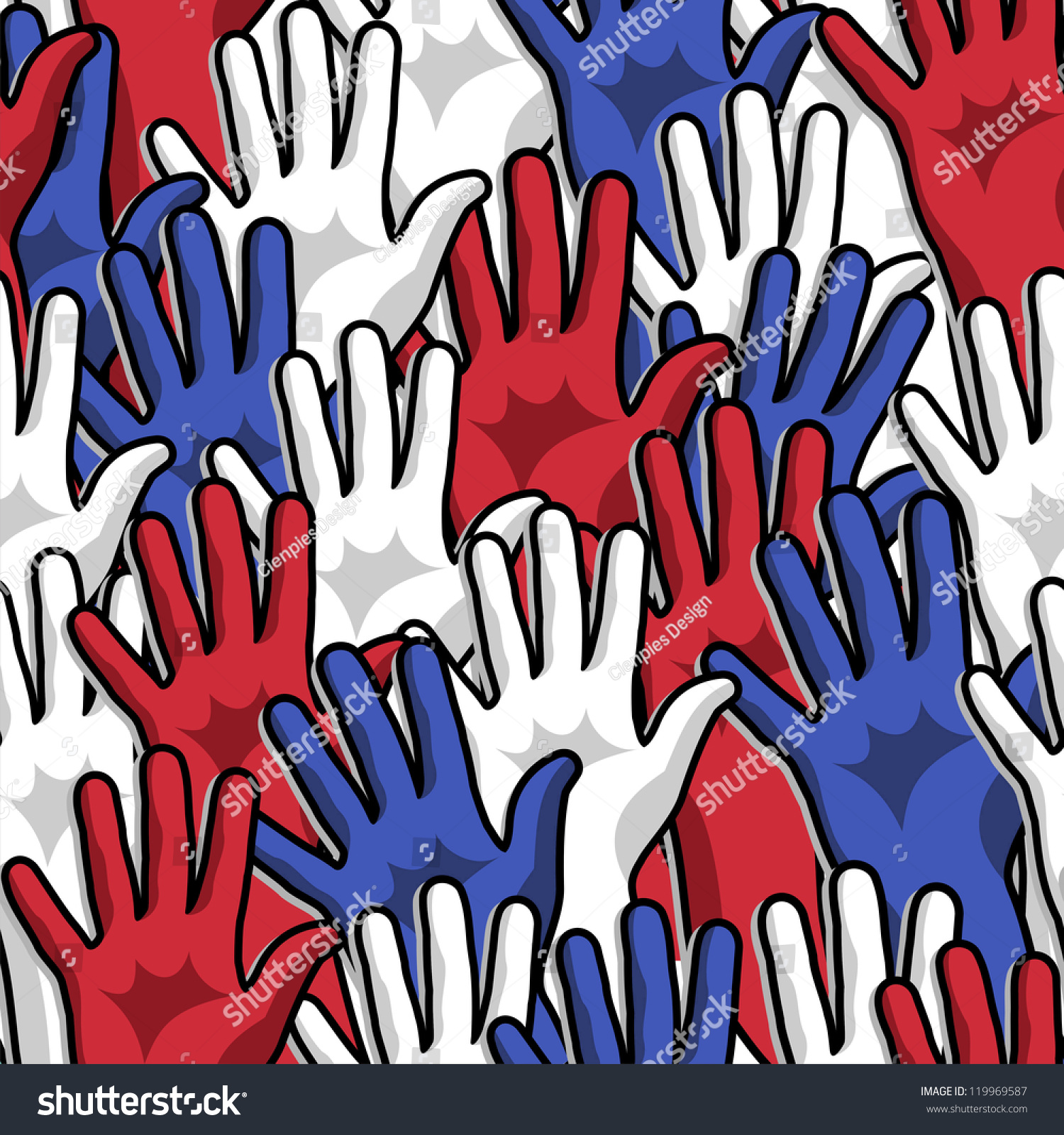 Democracy Voting Hands Up Seamless Pattern Background