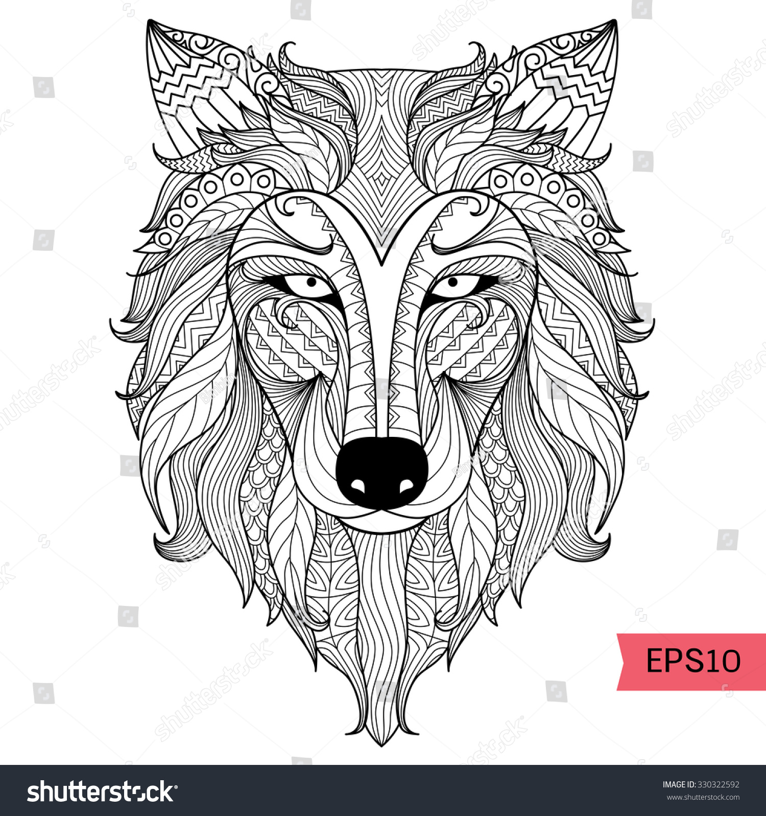 Detail Zentangle Wolf Coloring Pagetattoo T Stock Vector