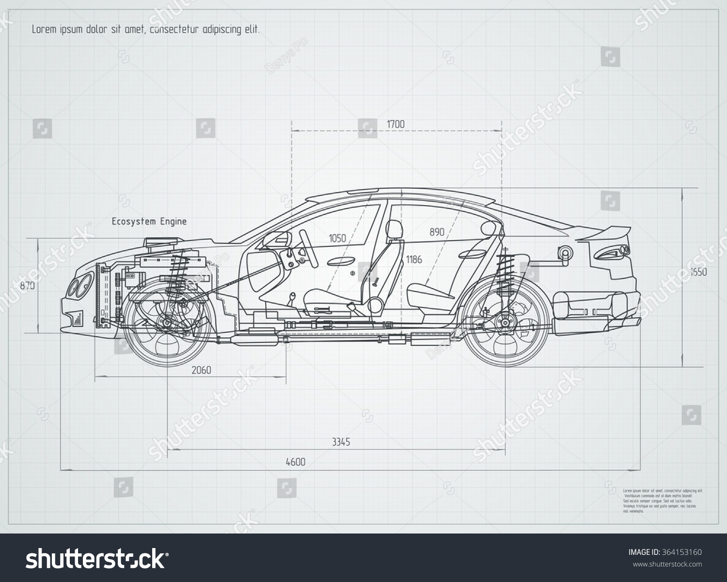 Detailed Engineering Drawing Car Vector Illustration Stock
