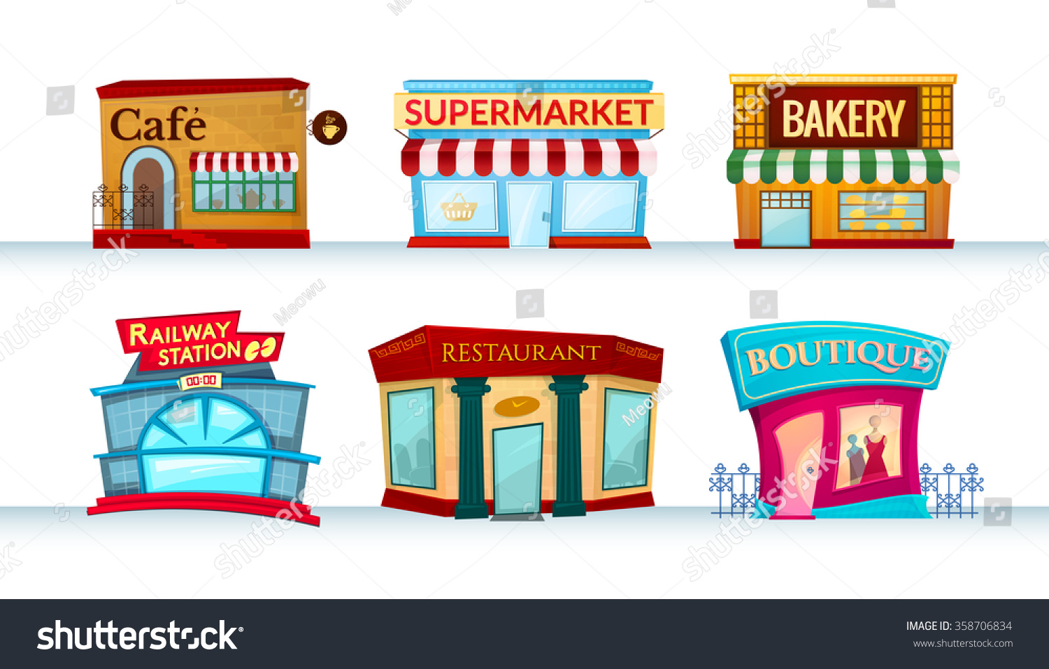 Different City Facilities Icons Set Shops Canteens