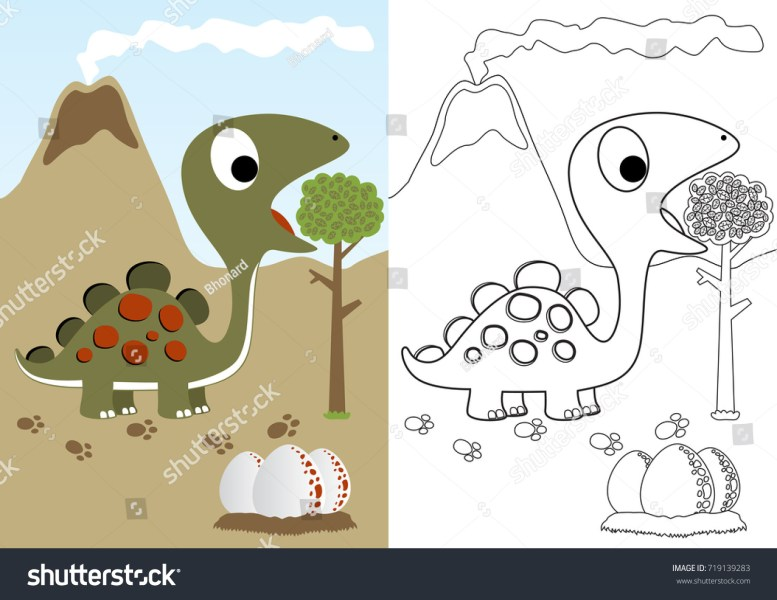 Cute Book Pictures Coloring Page Paintdatneworleans Posts Dino Herbivore Eggs Vector Cartoon Stock 719139283 With