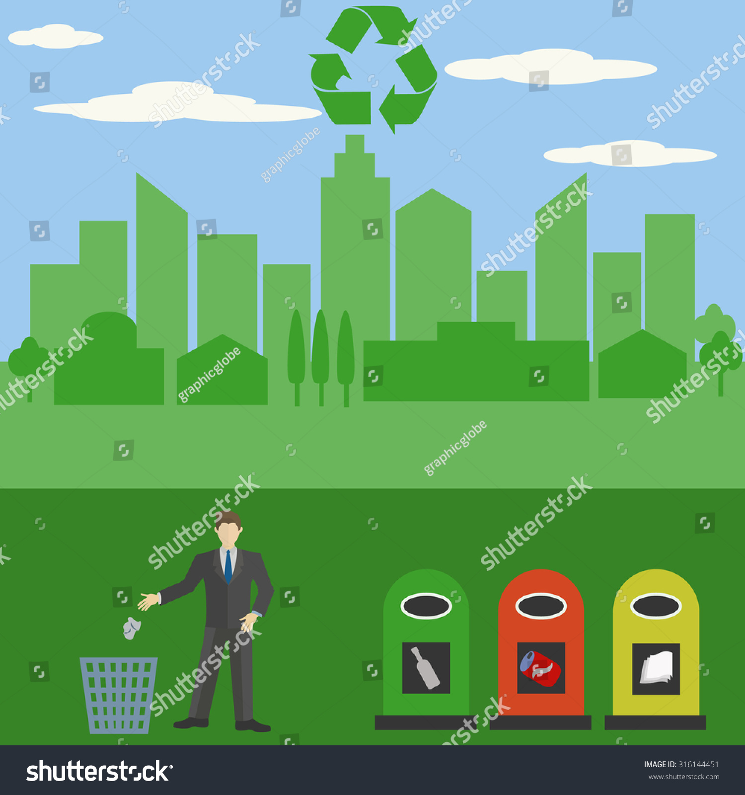 Dont Litter Recycle Keep Your City Stock Vector