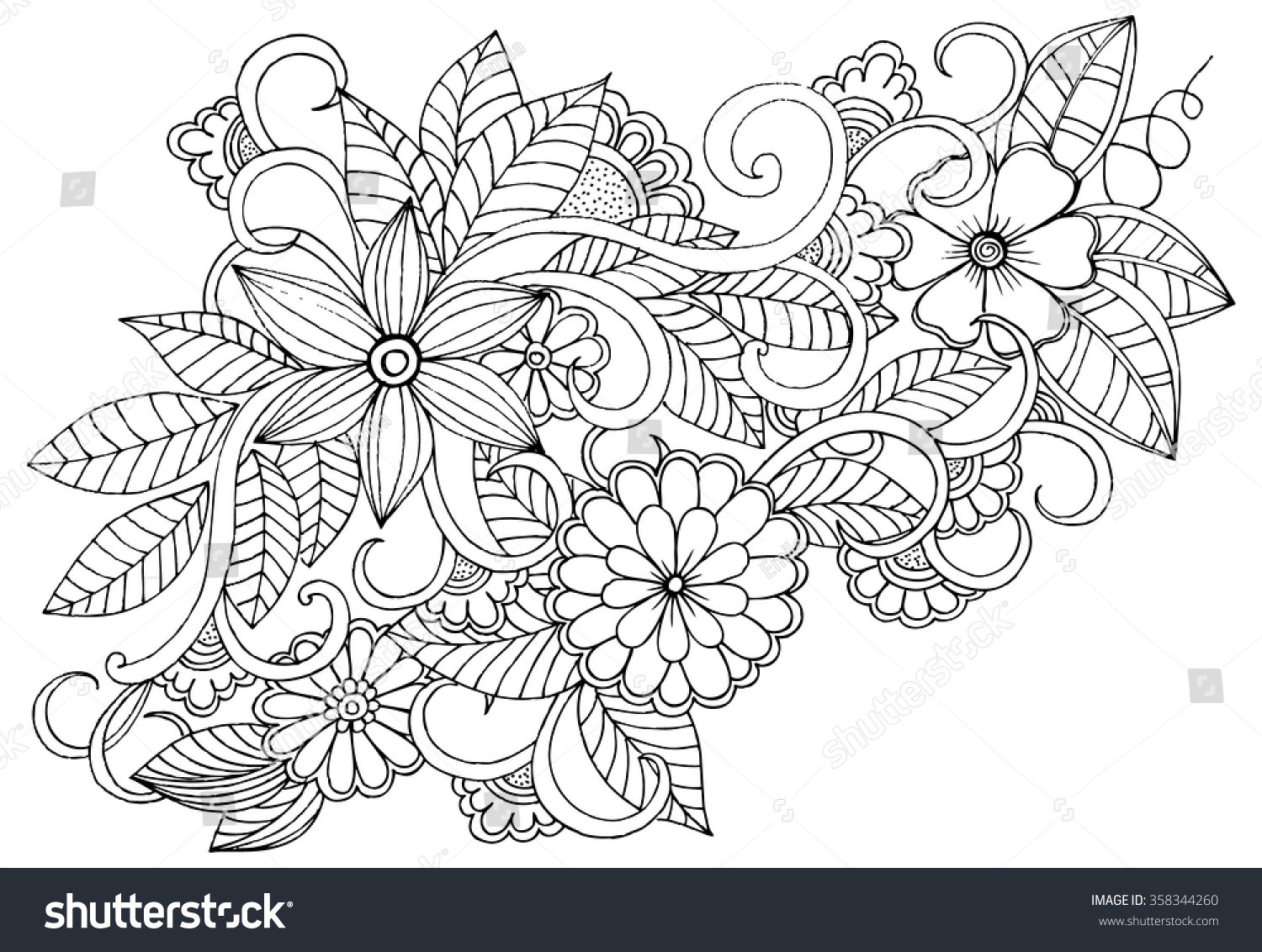 doodle floral pattern in black and white page for coloring book very