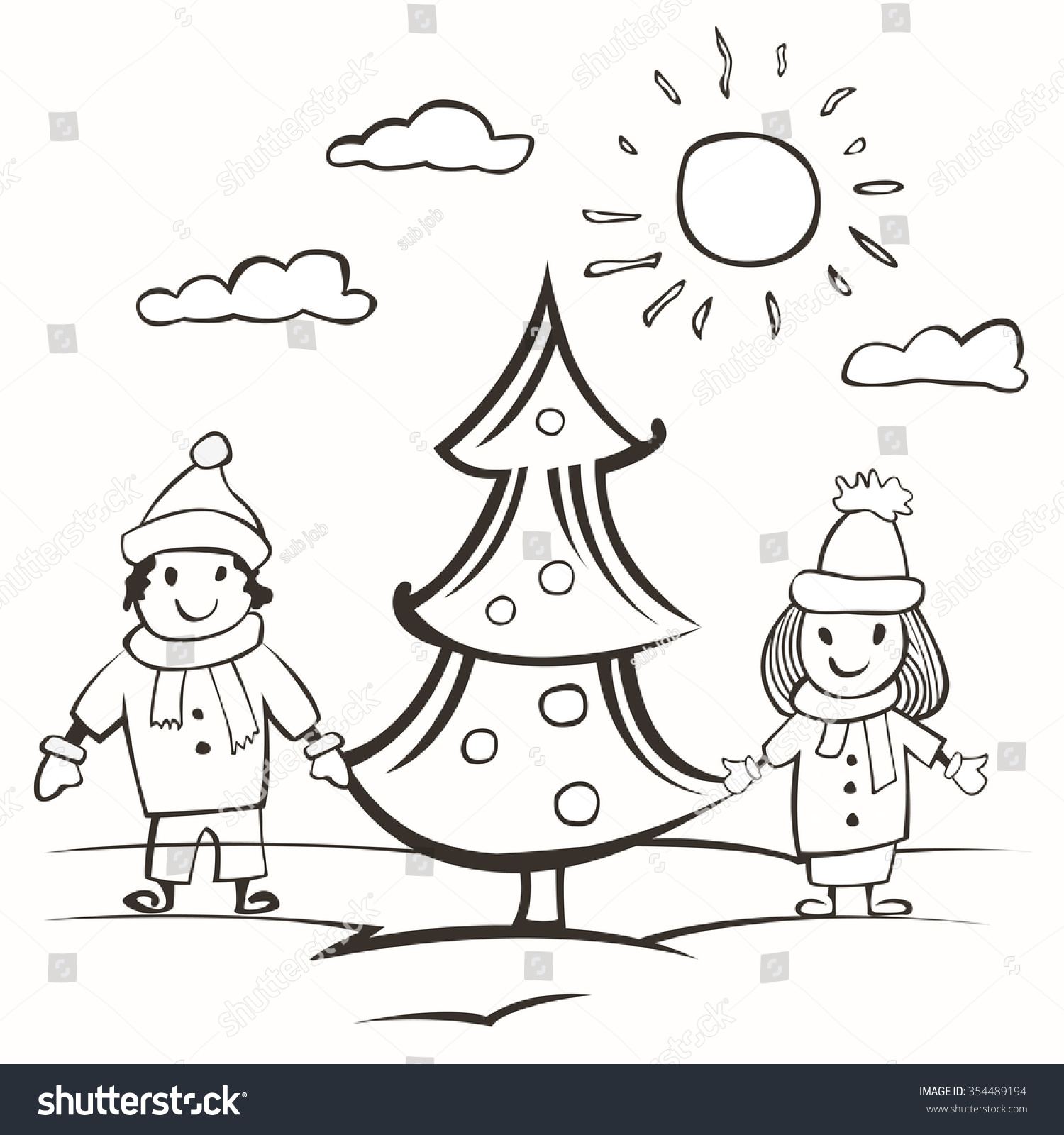 Doodle Small Child Drawing Card Children Stock Vector