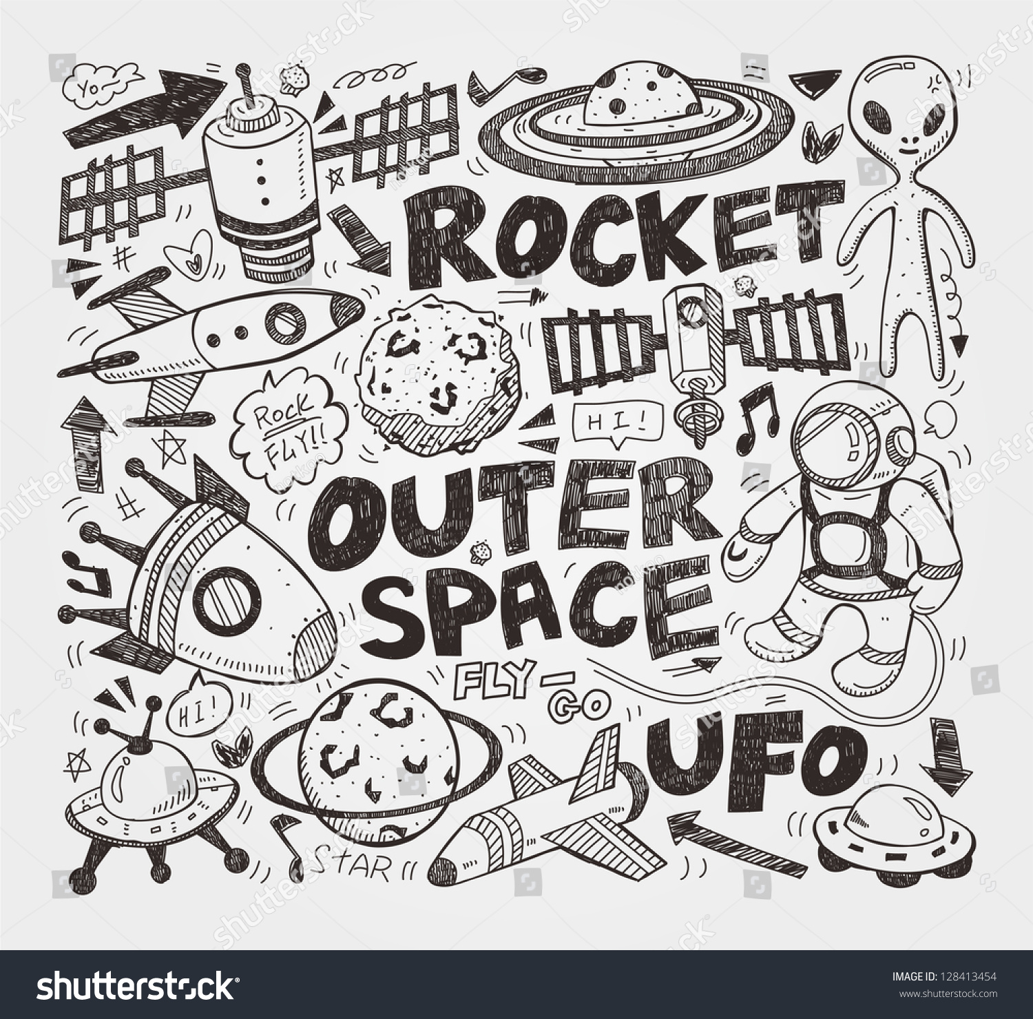 Doodle Space Element Stock Vector Illustration