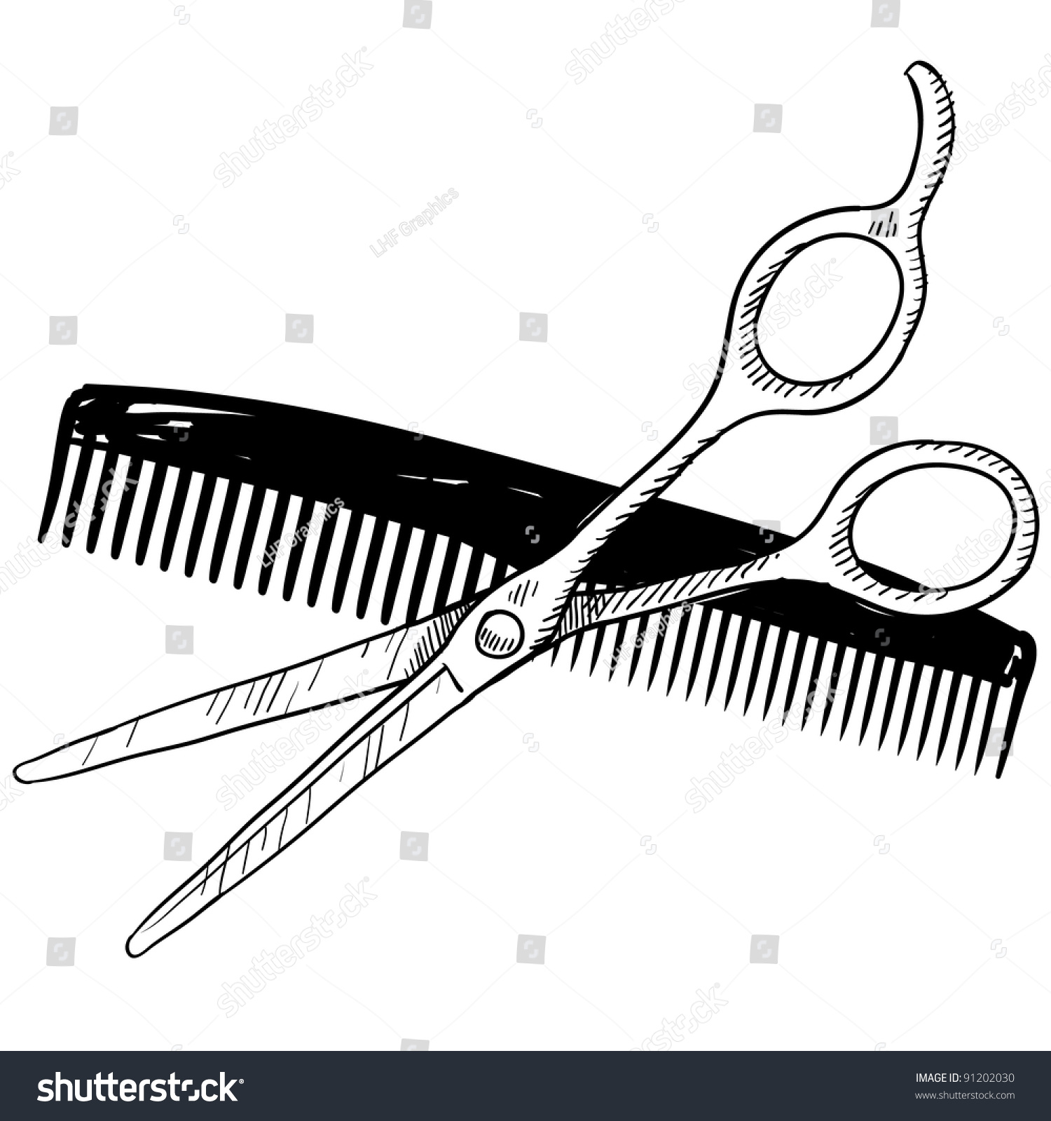 Doodle Style Hair Stylist Or Barber Scissors And Comb