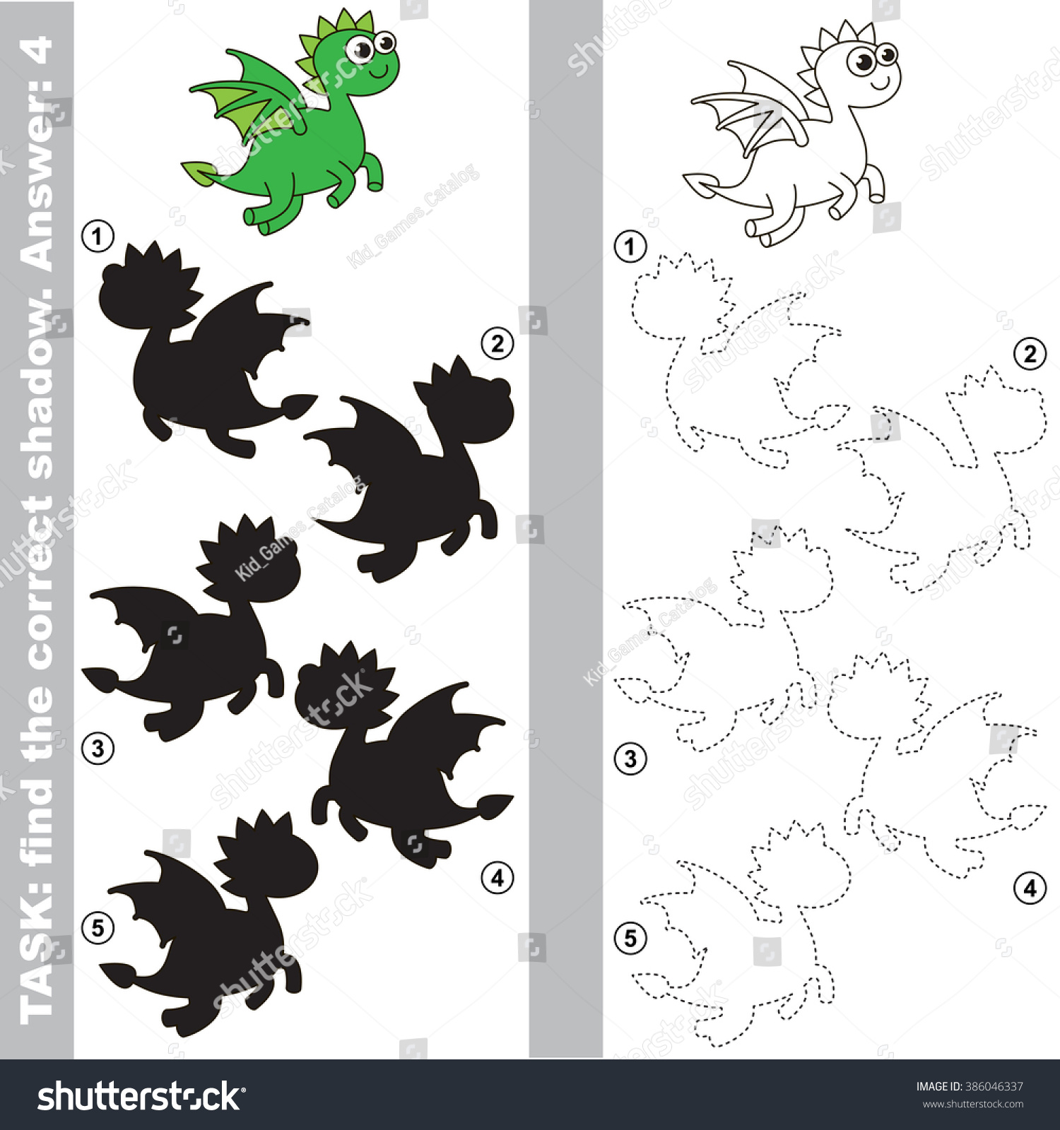 Dragon Different Shadows Find Correct One Stock Vector