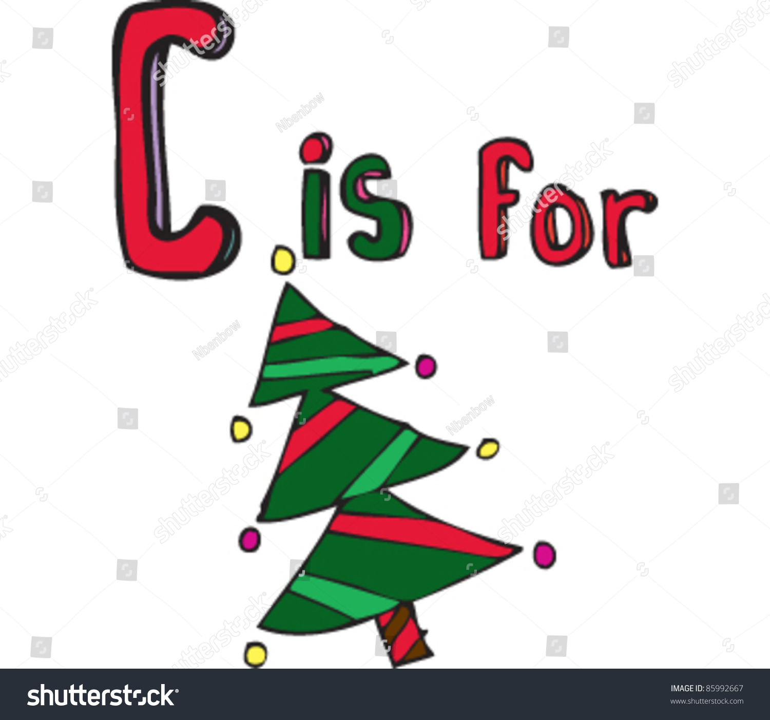 Drawing Letter C For Christmas Tree Stock Vector