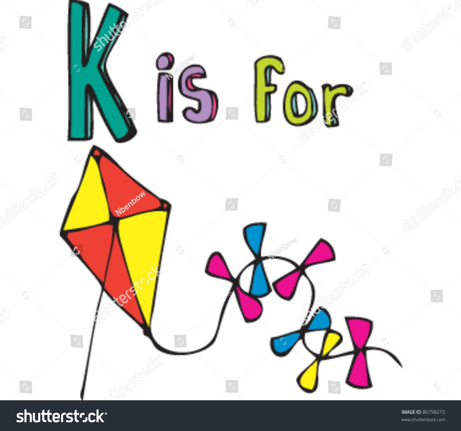 Drawing Of Letter K Is For Kite Stock Vector