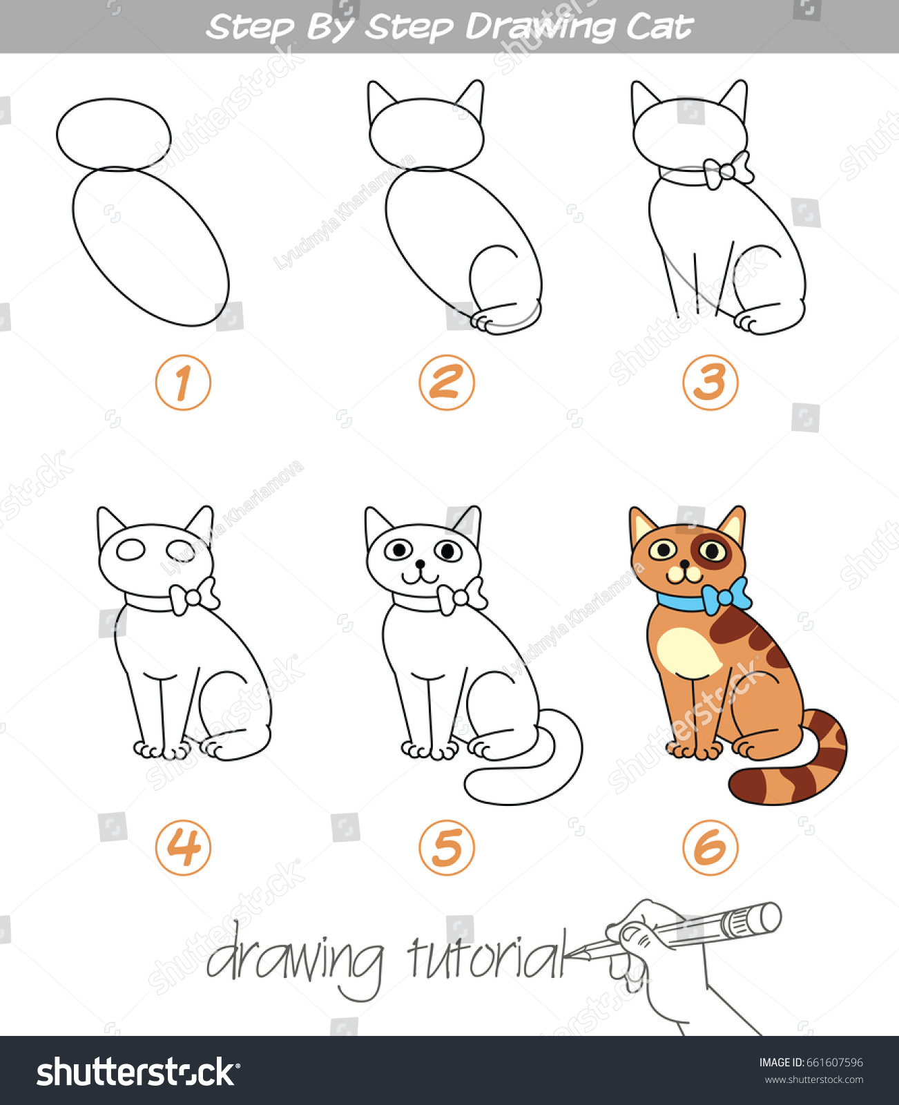 Drawing Tutorial Step By Step Drawing Stock Vector