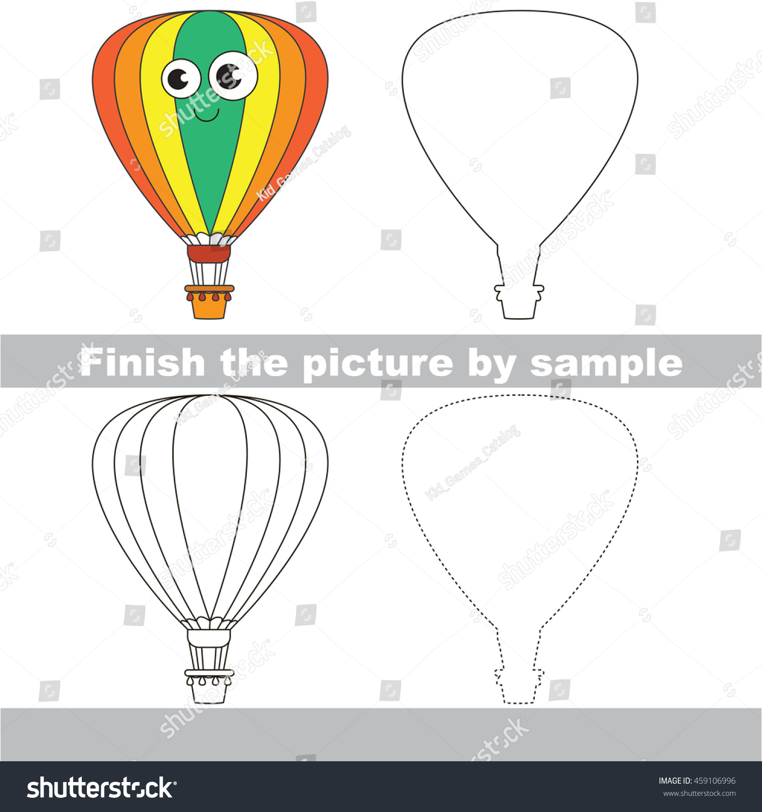 Drawing Worksheet Children Easy Educational Kid Stock