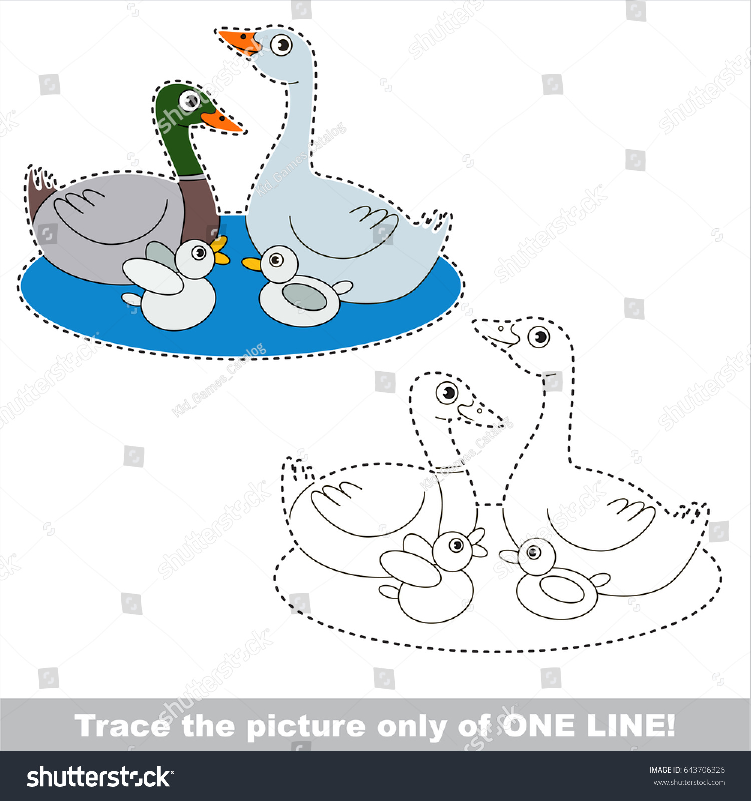 Duck Family Be Traced Only One Stock Vector