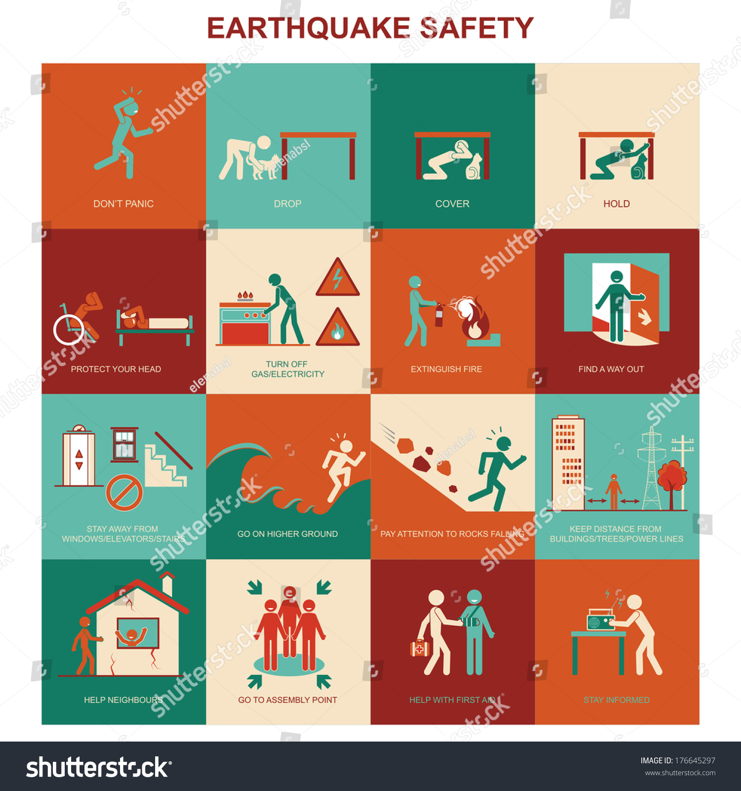 Earthquake Safety Procedure Stock Vector
