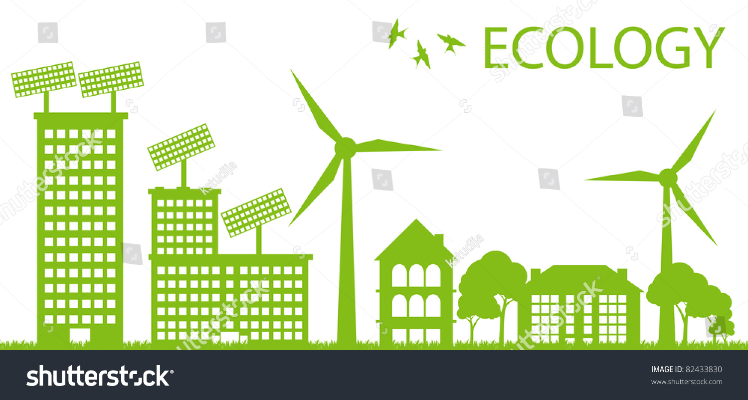 Ecology City And Elements Background Vector Concept Solar
