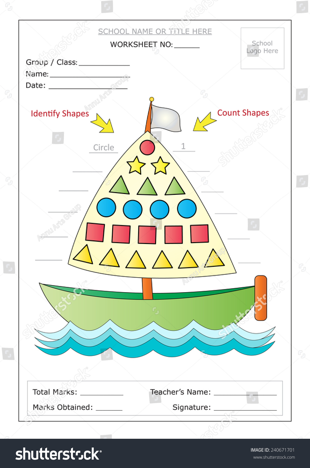 Editable Montessori Worksheet Boat Having Colorful Stock Vector