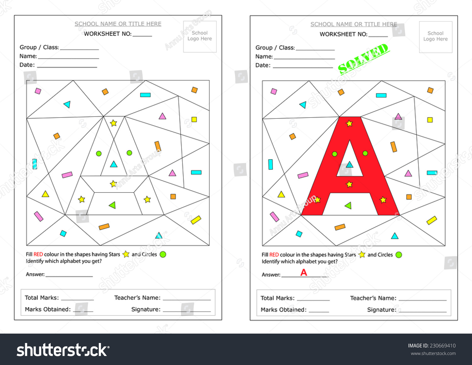 Editable Montessori Worksheet Fill The Defined Shapes