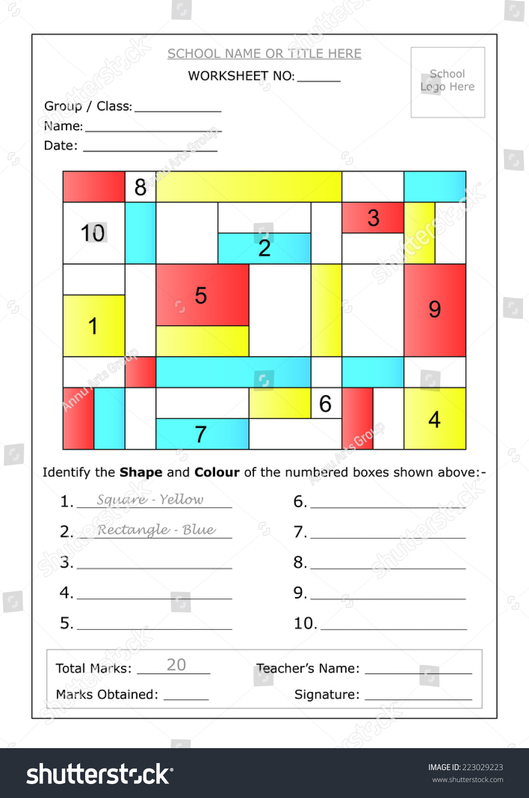 Editable Montessori Worksheet To Identify The Shape And