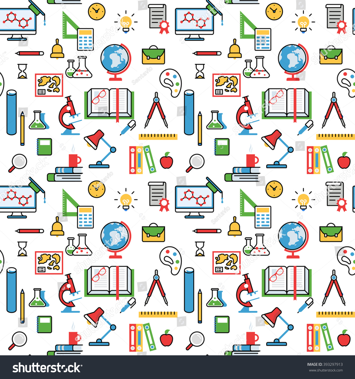 Education Objects Pattern Seamless Background Vector Stock Vector