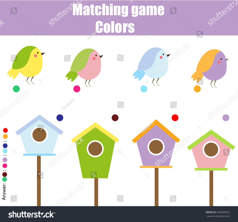 Educational Children Game Matching Game Worksheet Stock Vector