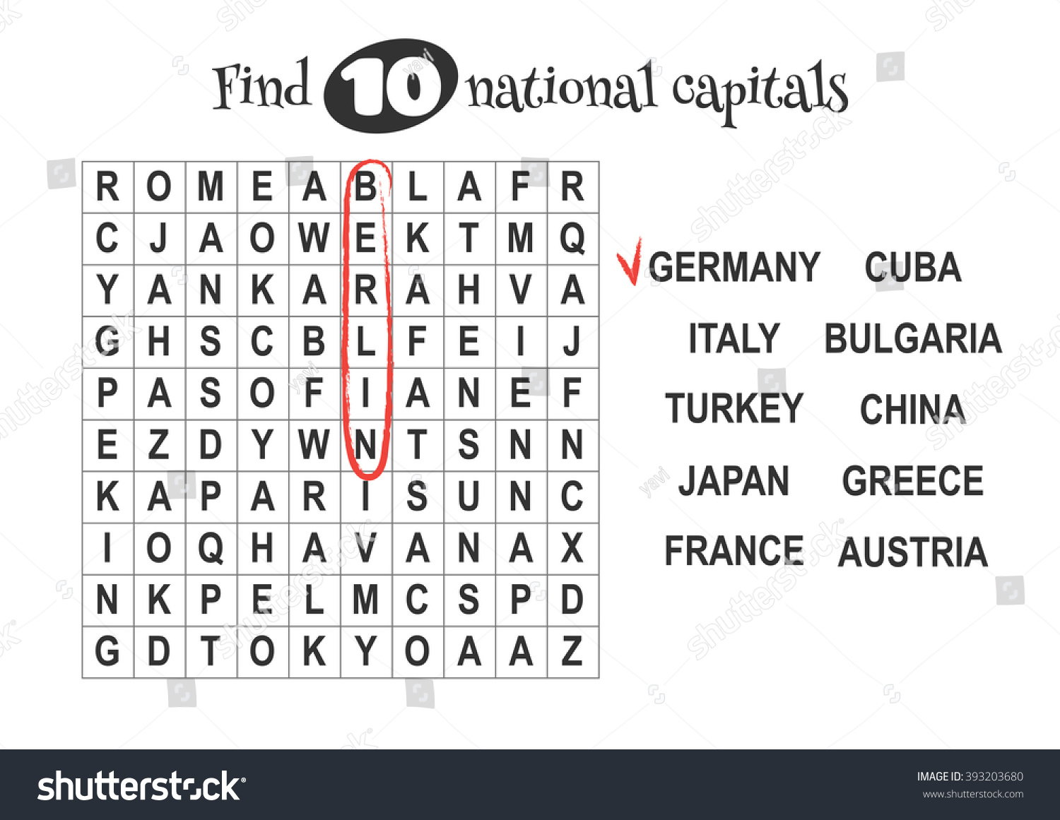 Educational Game Kids Word Search Find Stock Vector