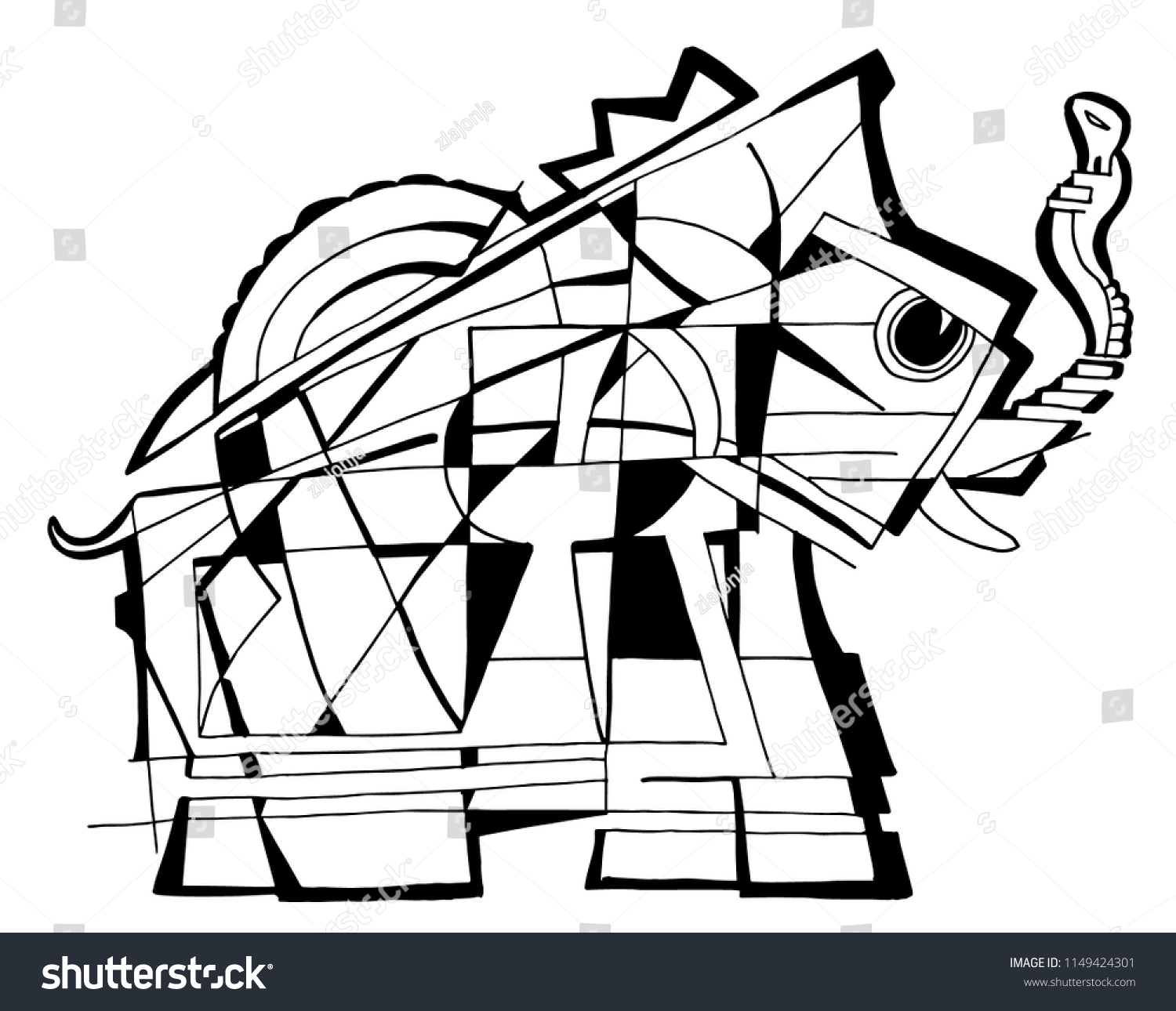 Elephant Coloring Page Abstract Stock Vector Royalty Free 1149424301