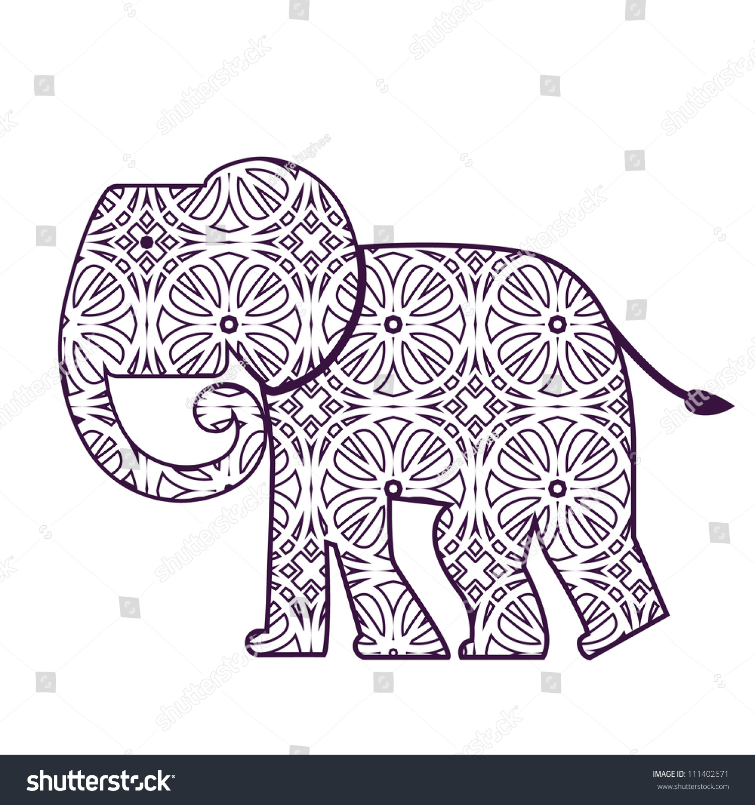 Elephant Cutout Pattern Stock Vector Illustration