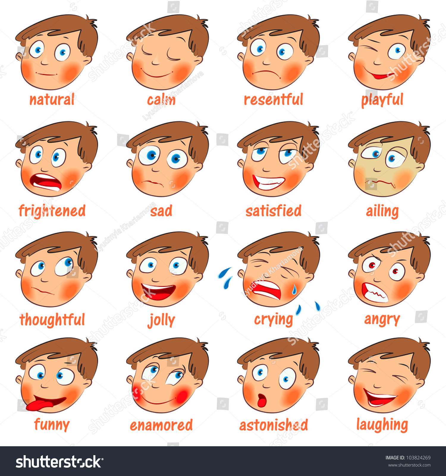 Emotions Cartoon Facial Expressions Set Natural Stock Vector