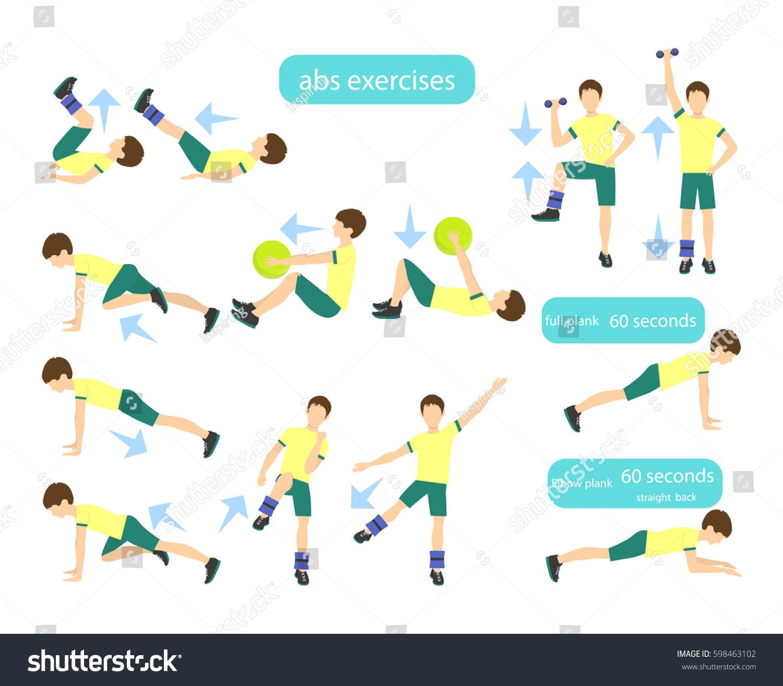 Exercises Kids Set Workout Boys Abs Stock Vector