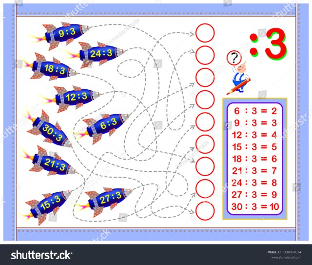 Exercises Kids Division By 22 Write Stock Vector (Royalty Free
