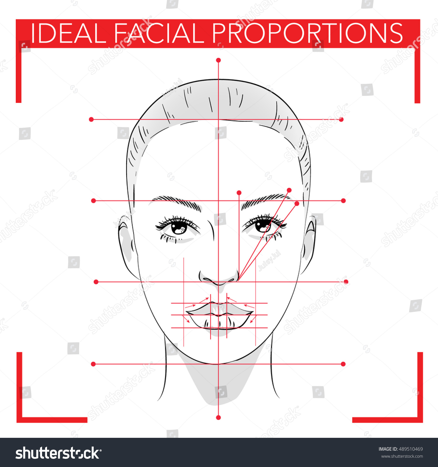 Face Chart Make Upideal Facial Proportionsbeauty Stock