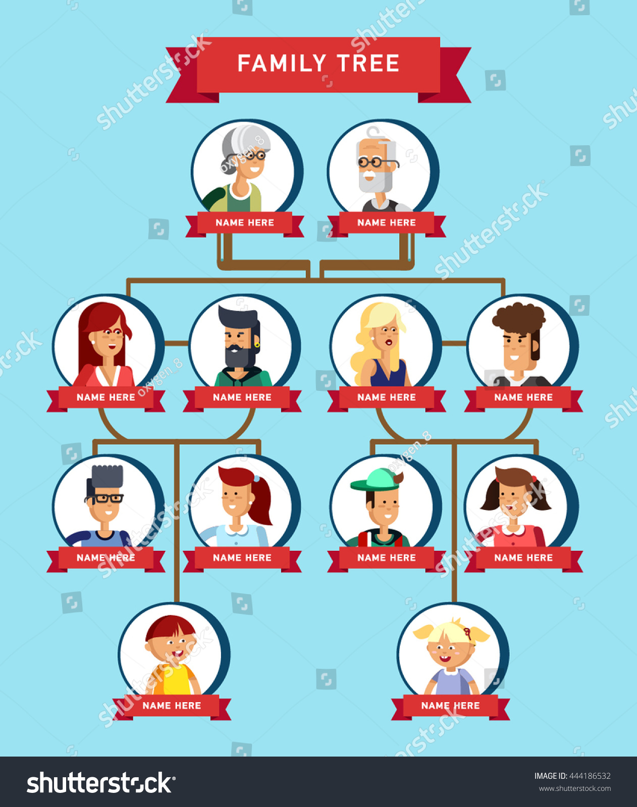 Family Tree Generation Illustratuion People Faces Stock
