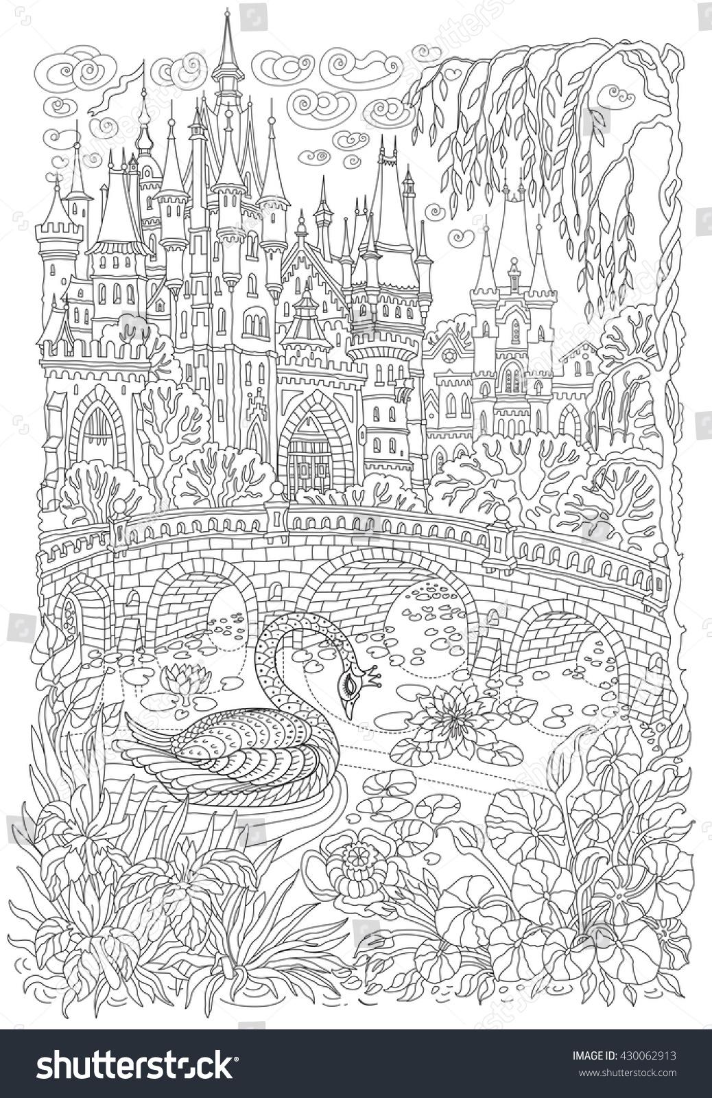 Fantasy Landscape Fairy Tale Castle Fantastic Stock Vector