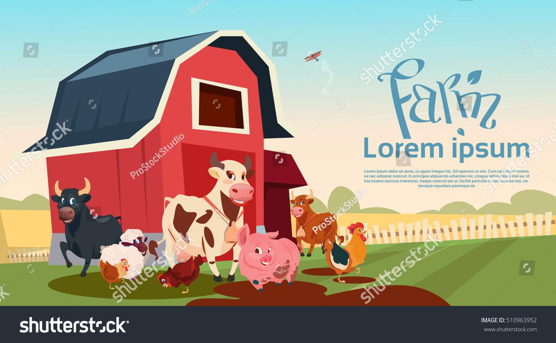 Farm Breeding Animals Farmland Background Flat Stock
