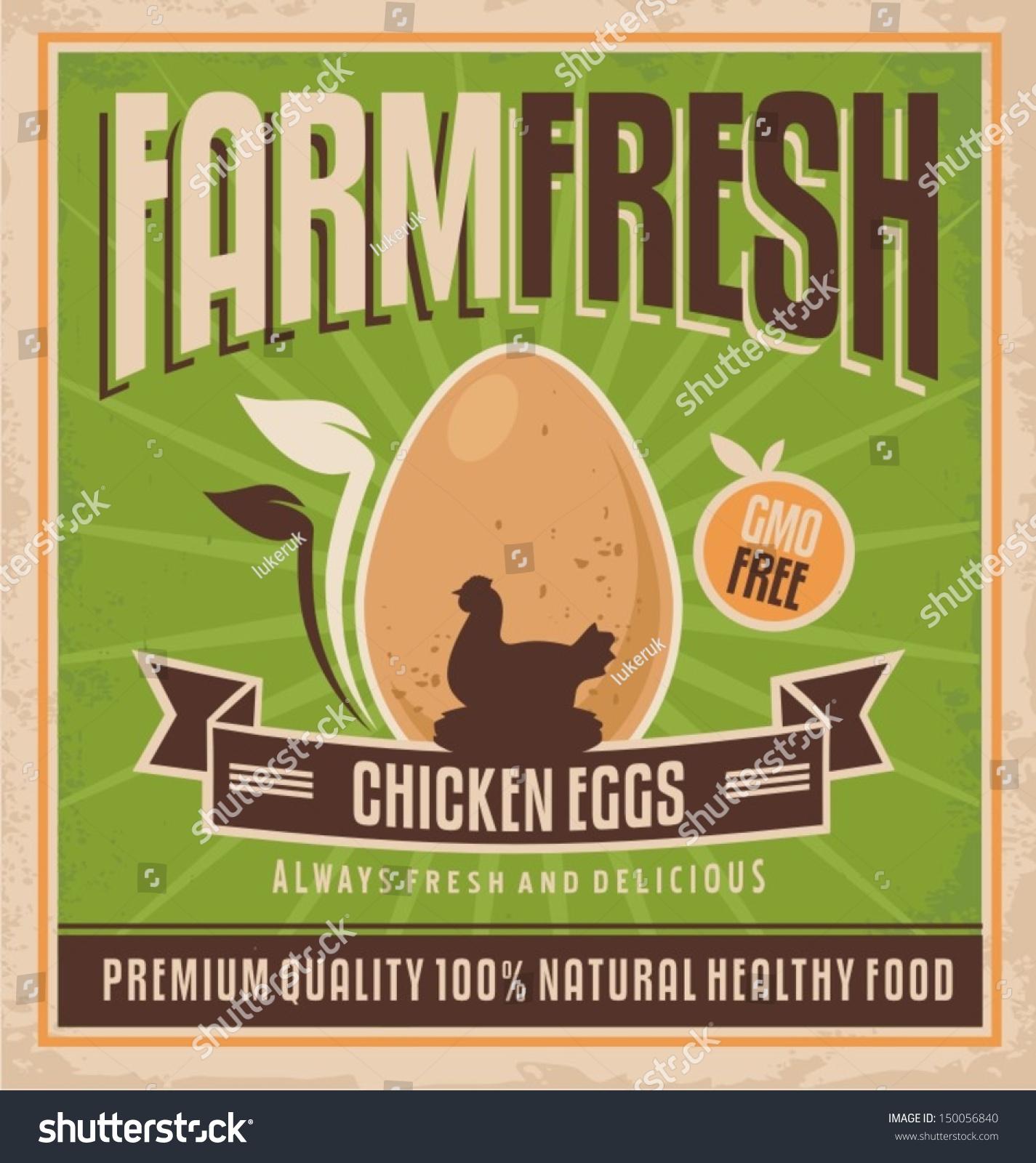 Farm Fresh Chicken Eggs Vintage Label Stock Vector