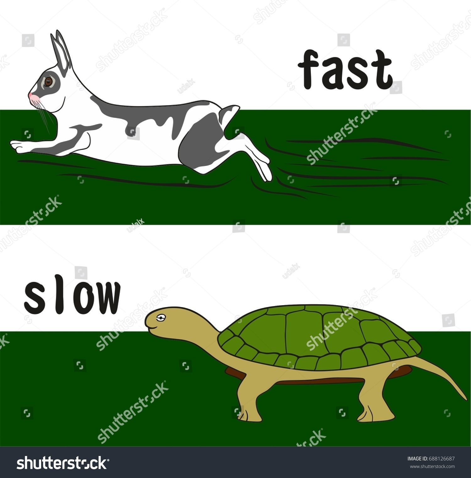Fast Slow Opposition Word Concept Education Stock Vector