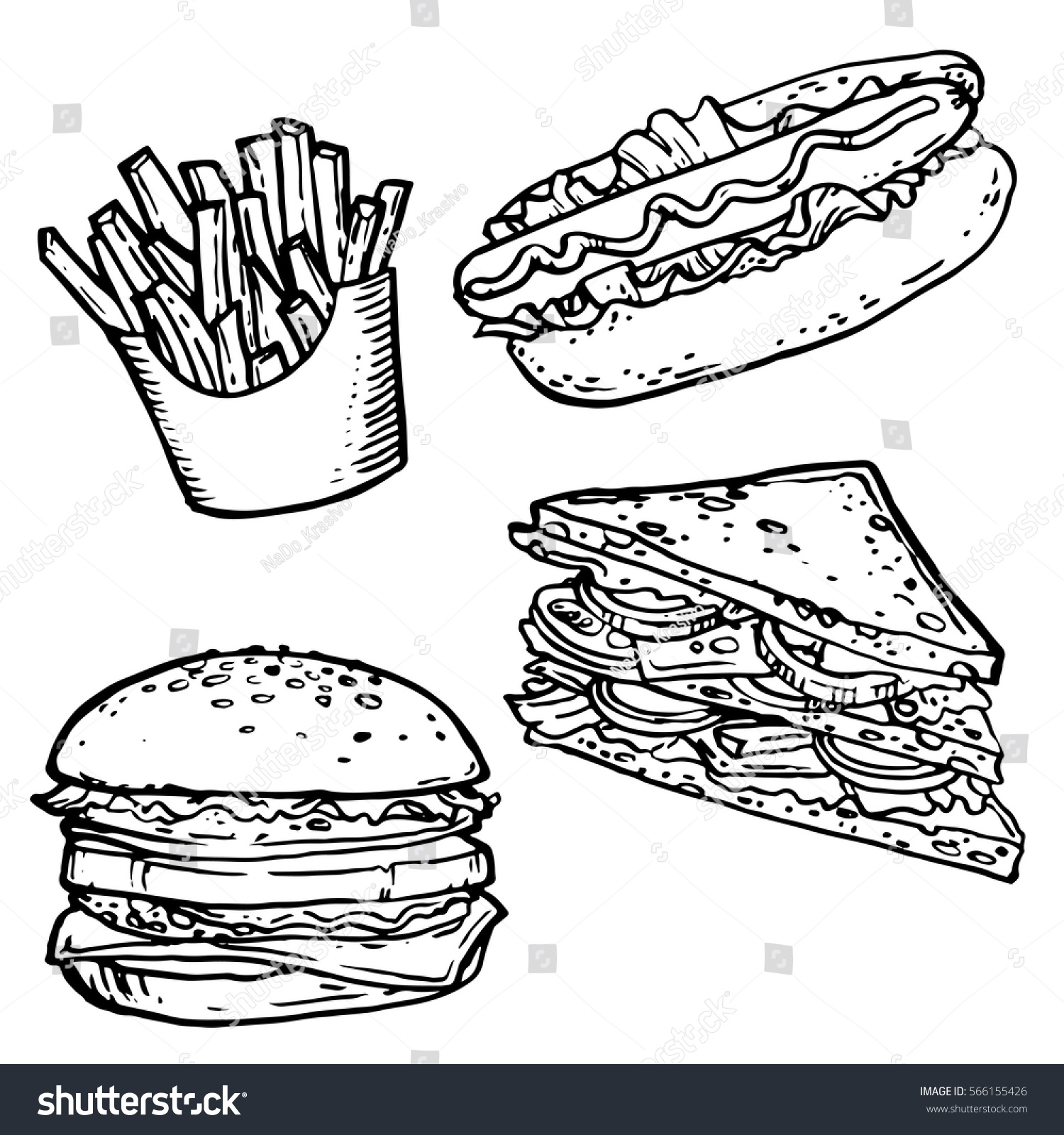 Fast Food Hand Drawn Stock Vector Stock Vector