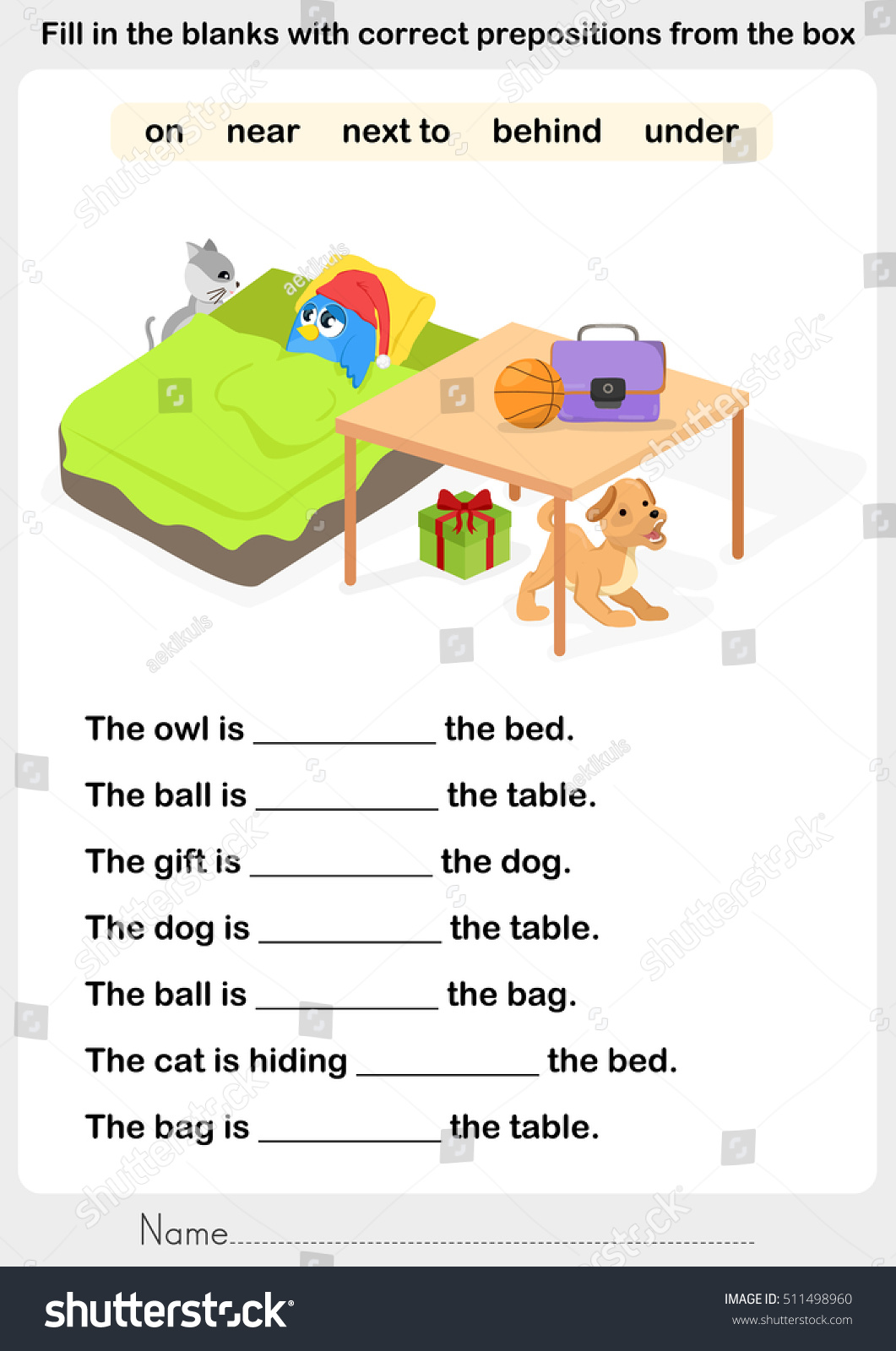 Prepositions Worksheet Bears