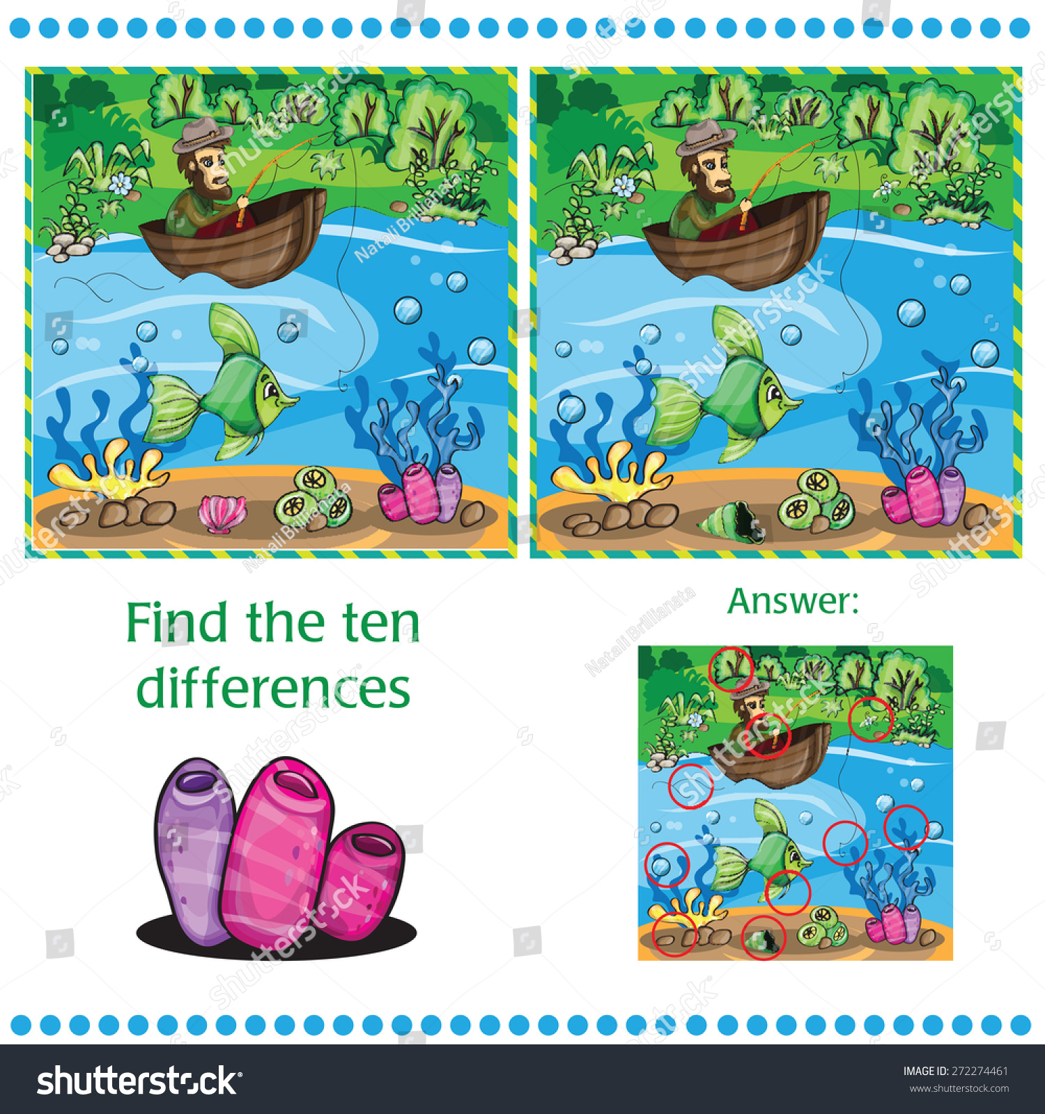 Find Differences Between Two Images Fisherman Stock Vector