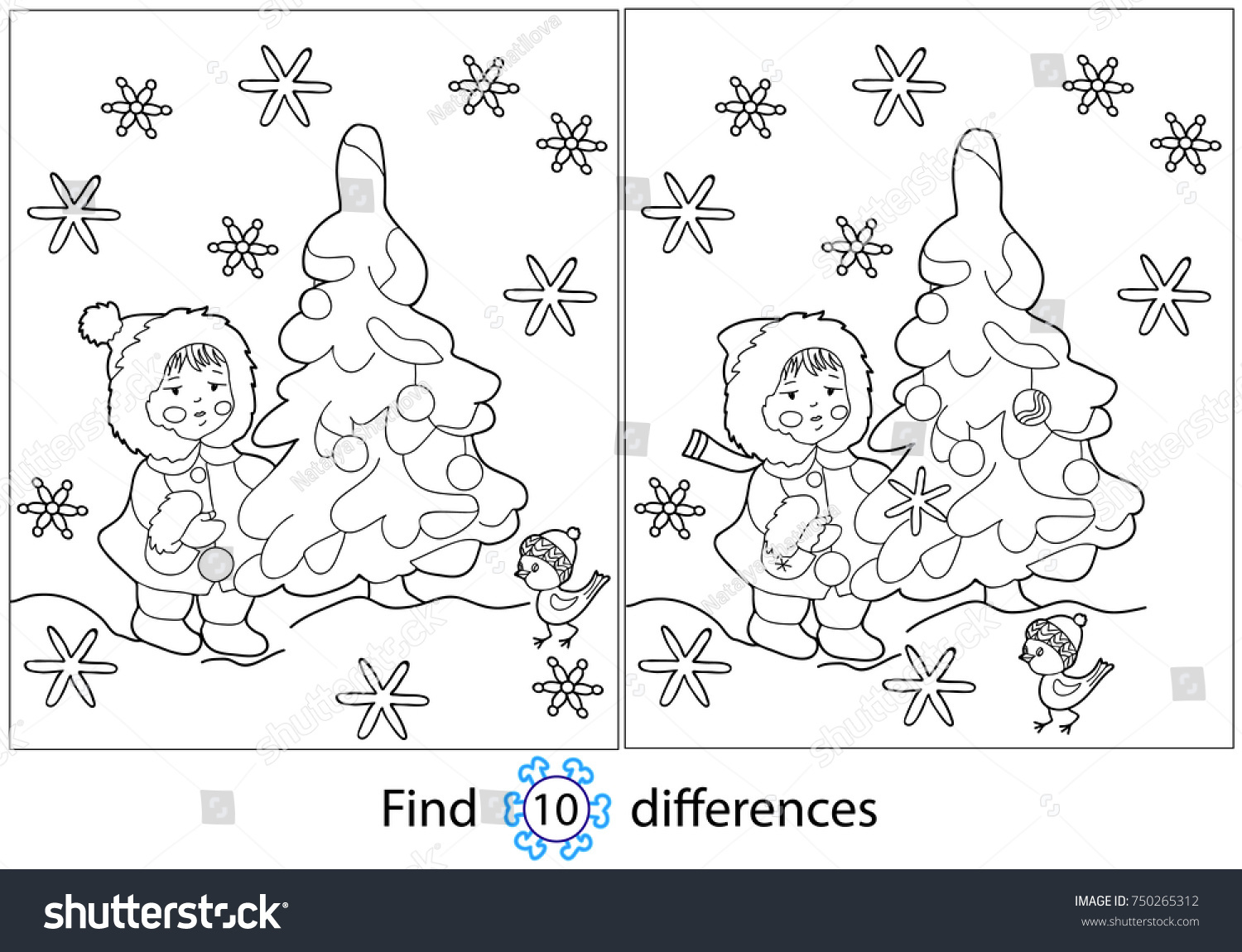 Find Differences Education Game Children Girl Stock Vector
