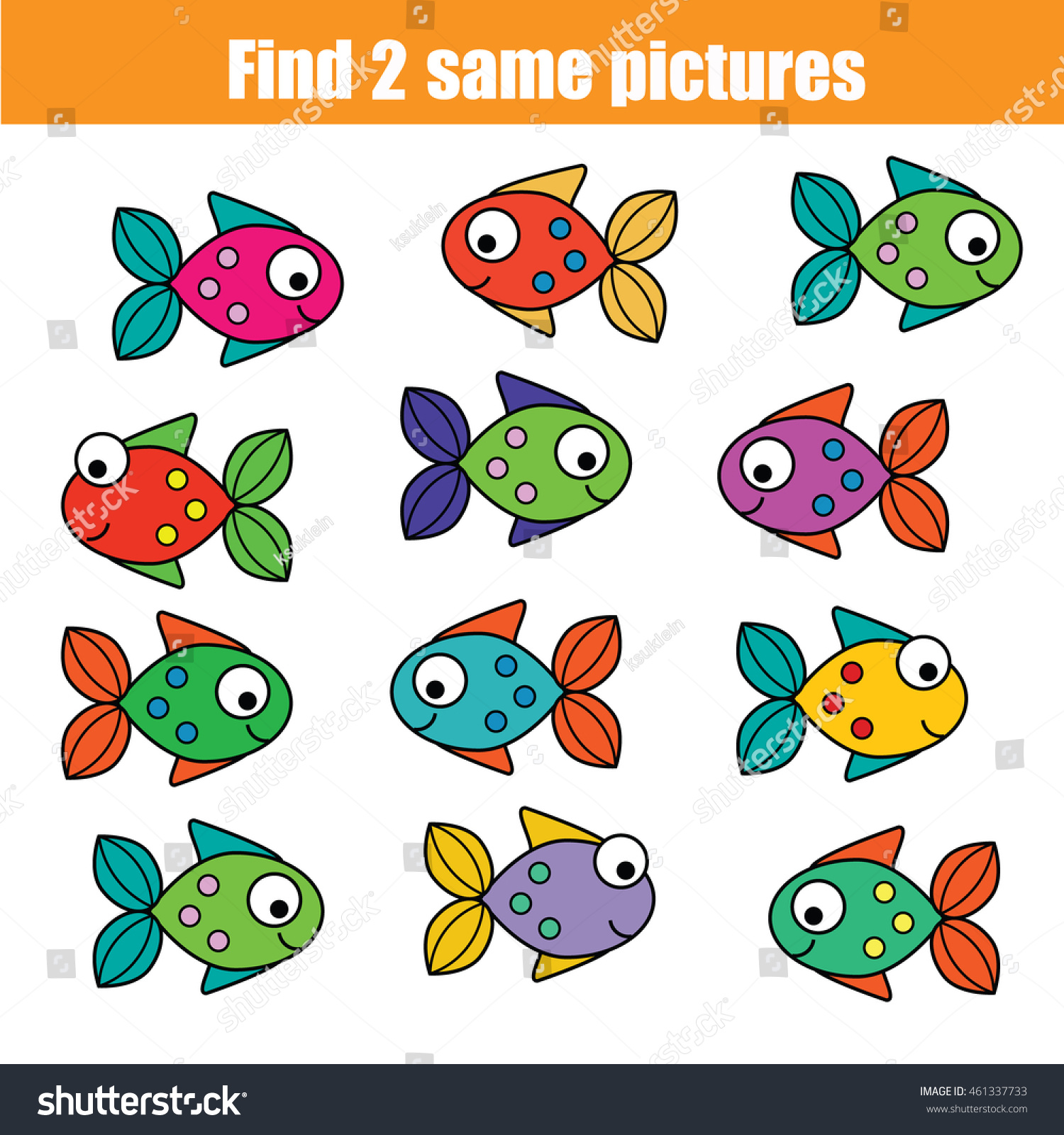 Find Same Pictures Children Educational Game Stock Vector