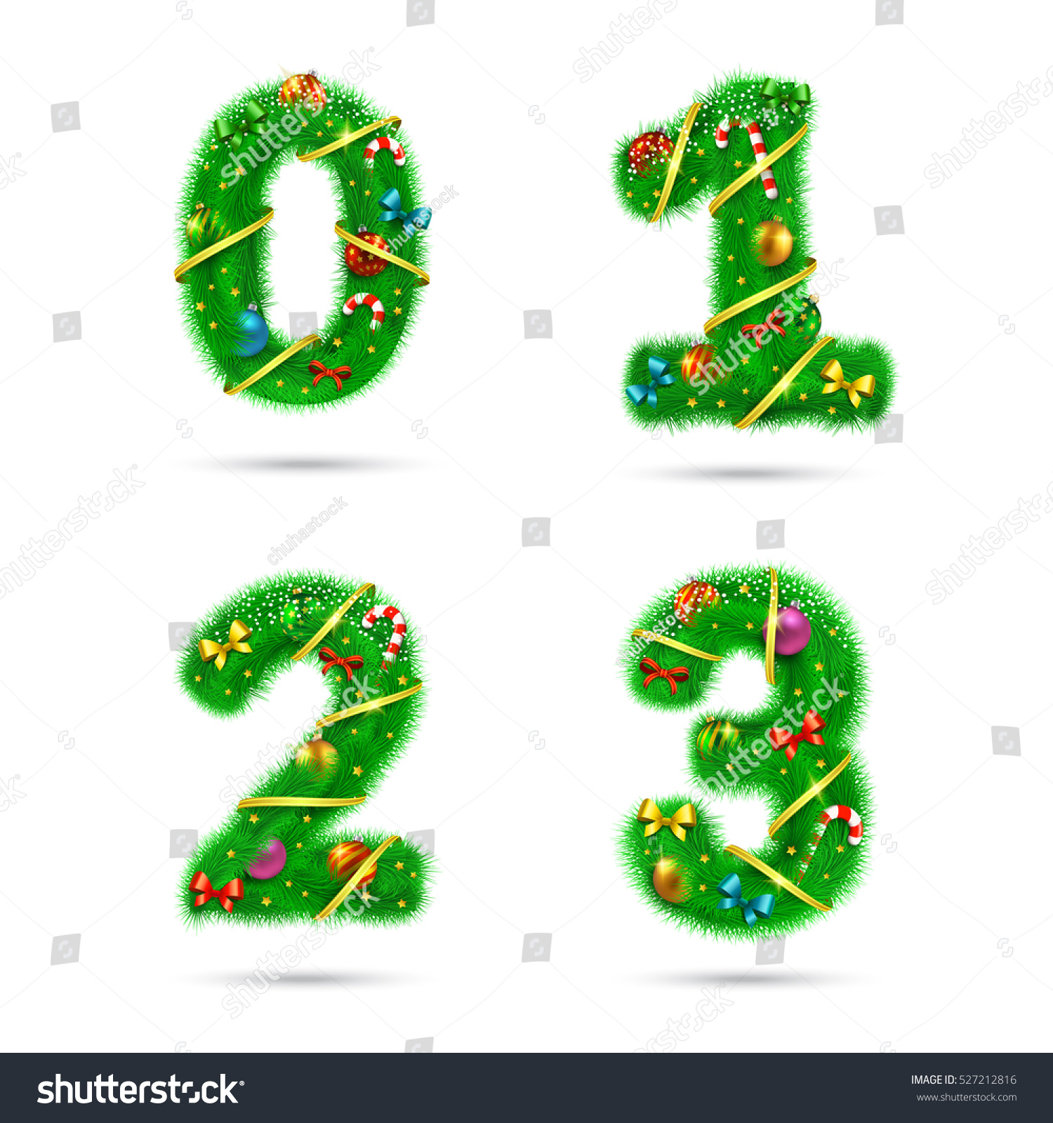 Fir Tree Font Numbers Christmas New Stock Vector