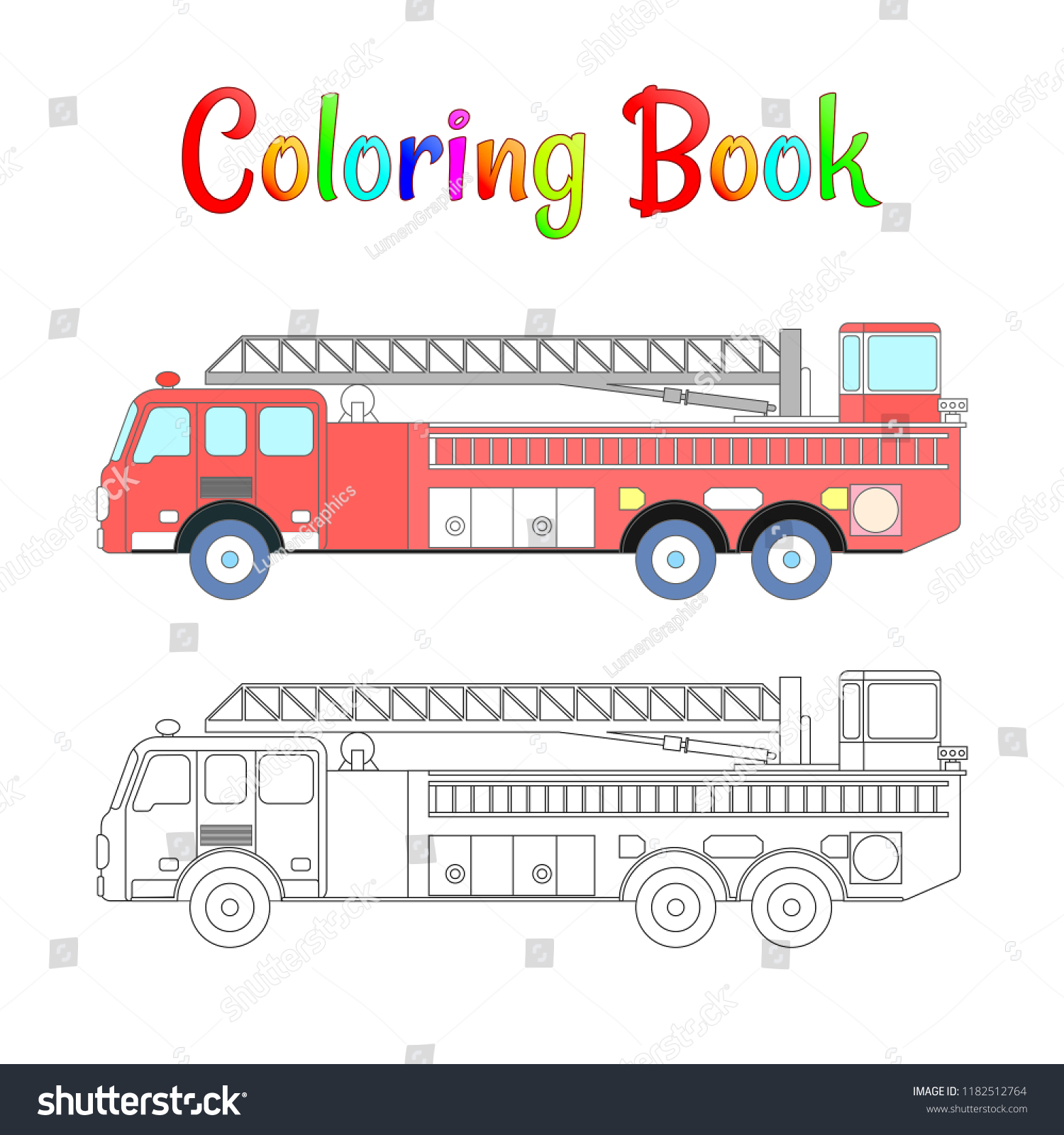 Fire Truck Coloring Book Vector Coloring Stock Vector Royalty Free 1182512764