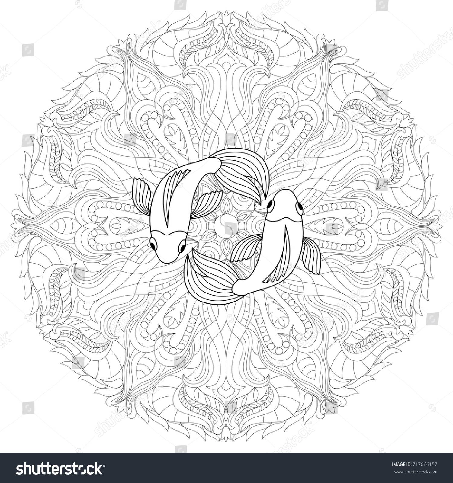 Fish Mandala Coloring Page Adults Outline Stock Vector 717066157