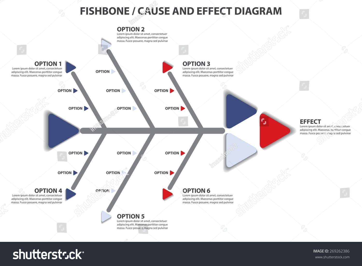 Fishbone Cause Effect Diagram Vector Infographic Stock