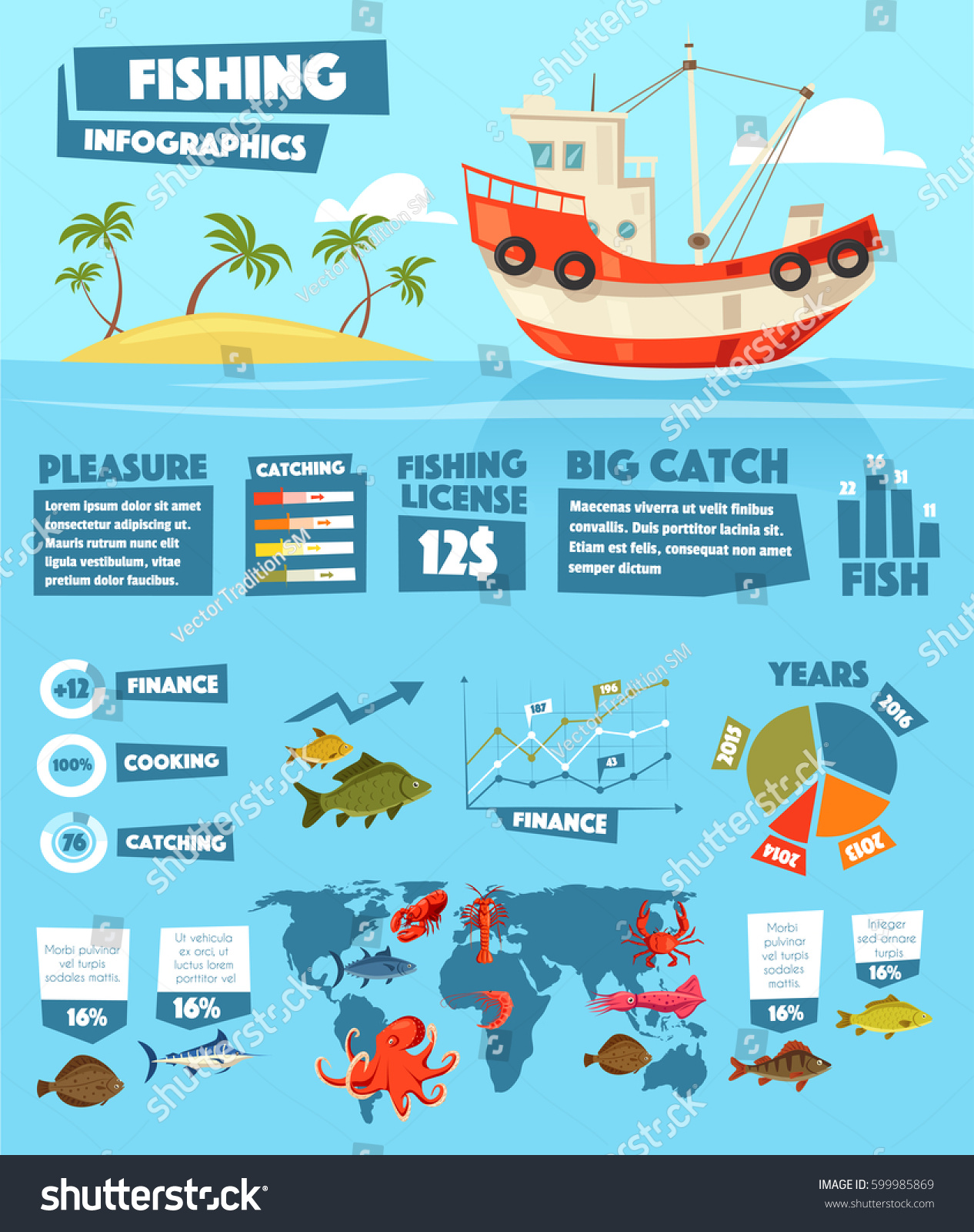 Fishing Infographics Vector Fish Seafood Statistics Stock