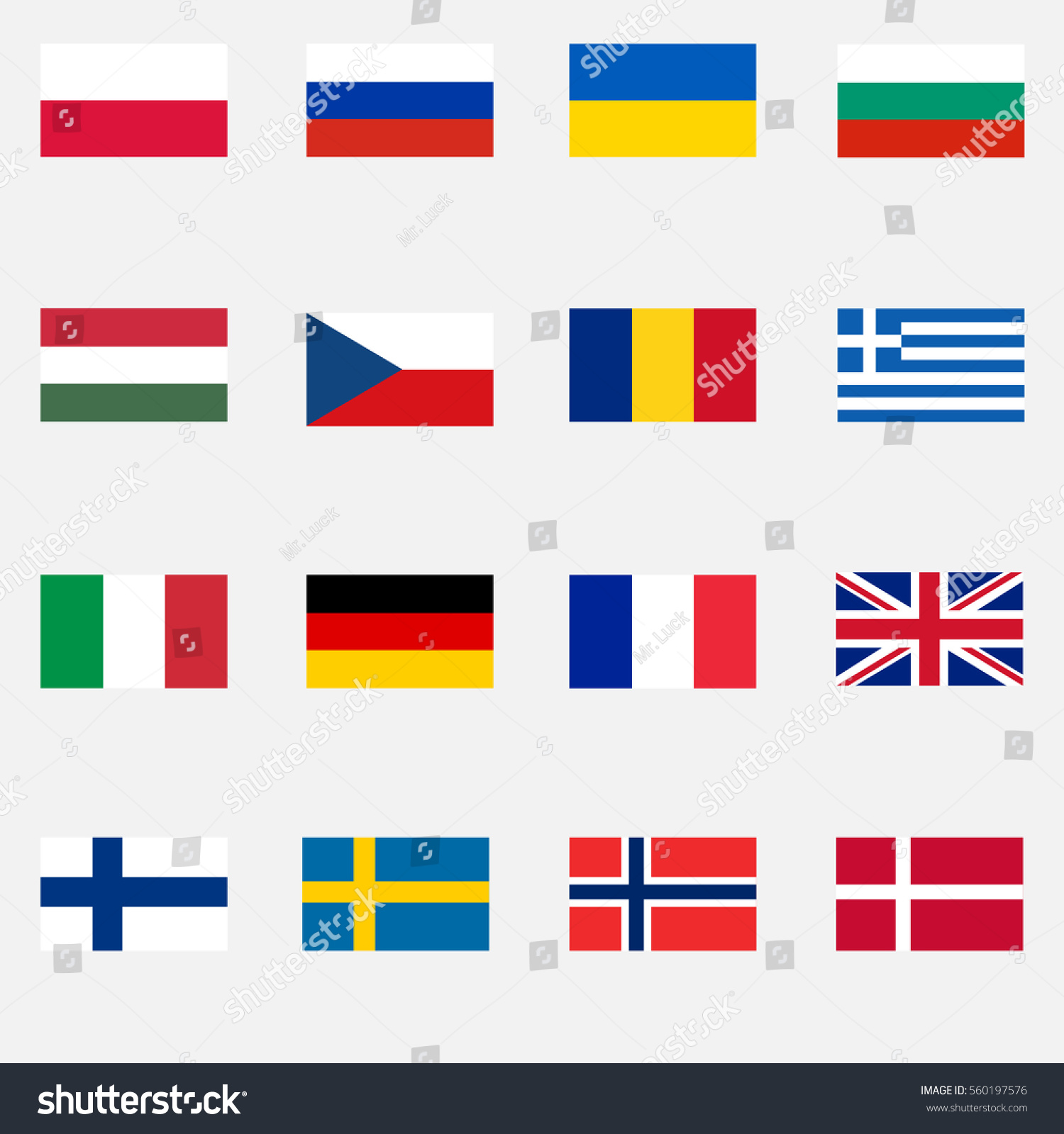 Flags Countries Europe Poland Russia Czech Stock Vector