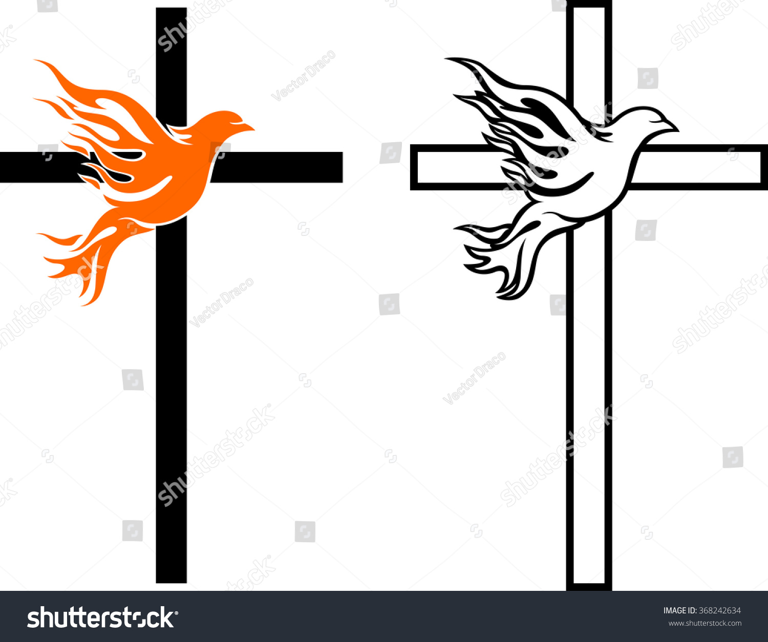 Flame Dove Cross Stock Vector Illustration