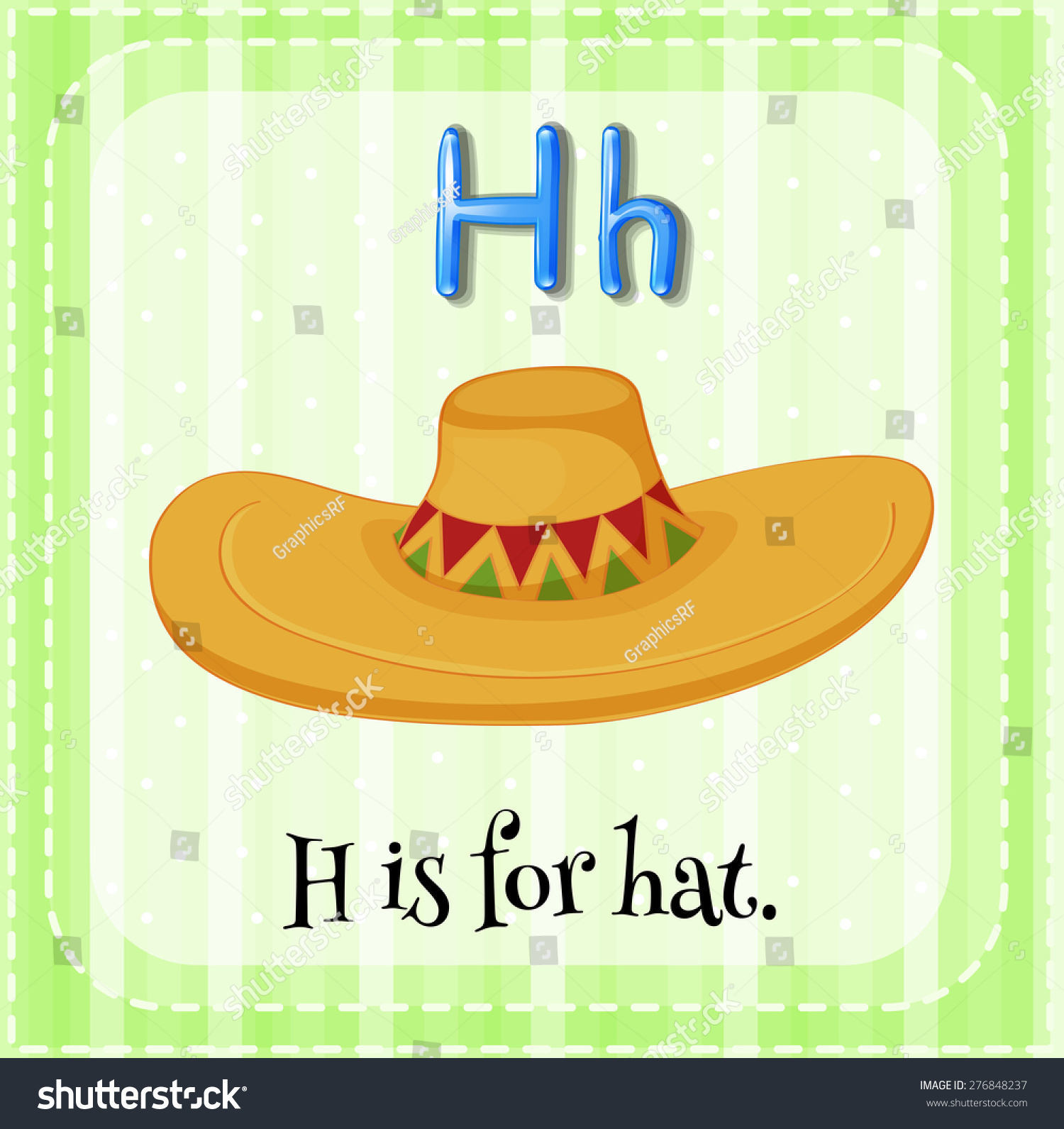 Flashcard Letter H Is For Hat With Green Background Stock